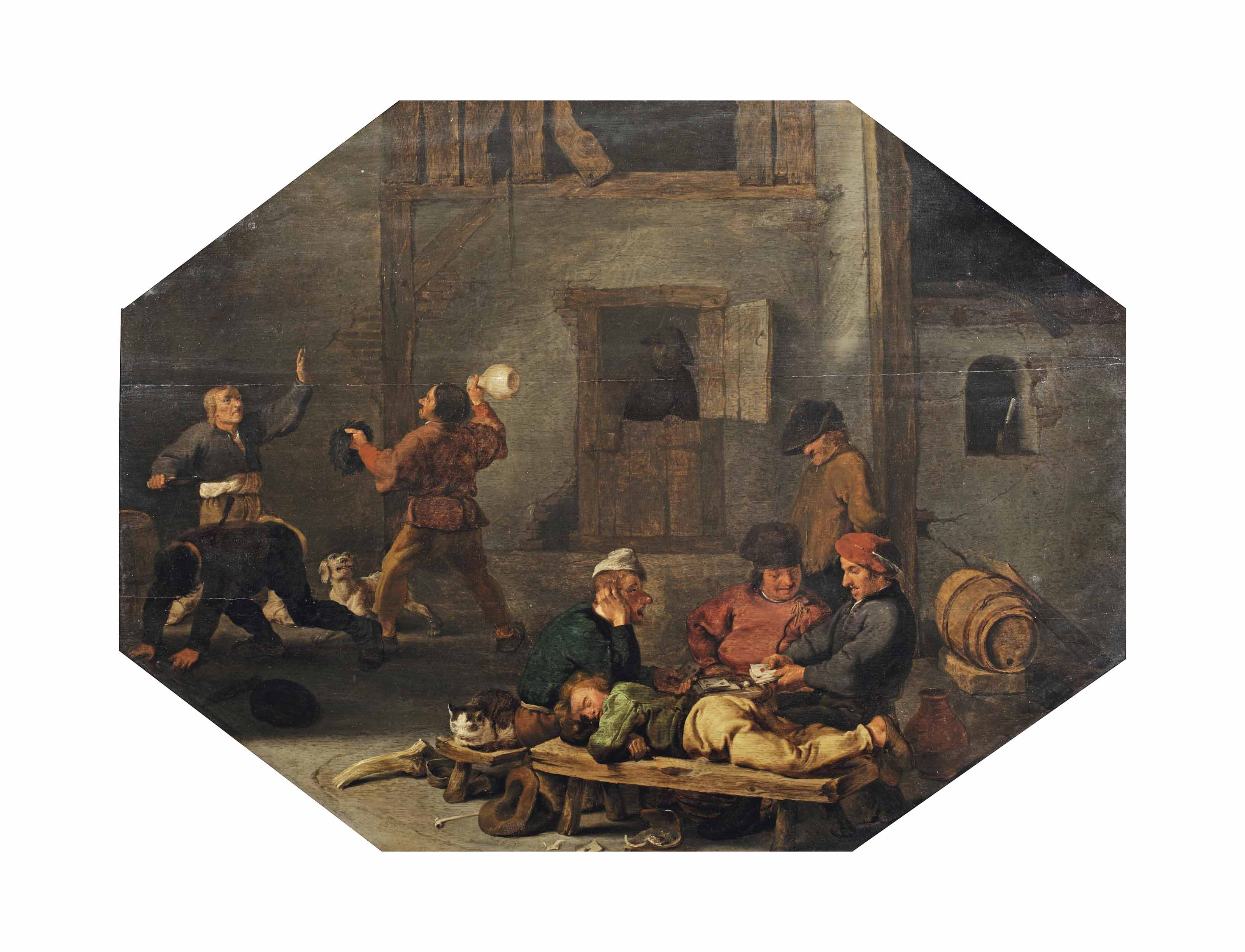 A tavern interior with a game of cards and brawlers
