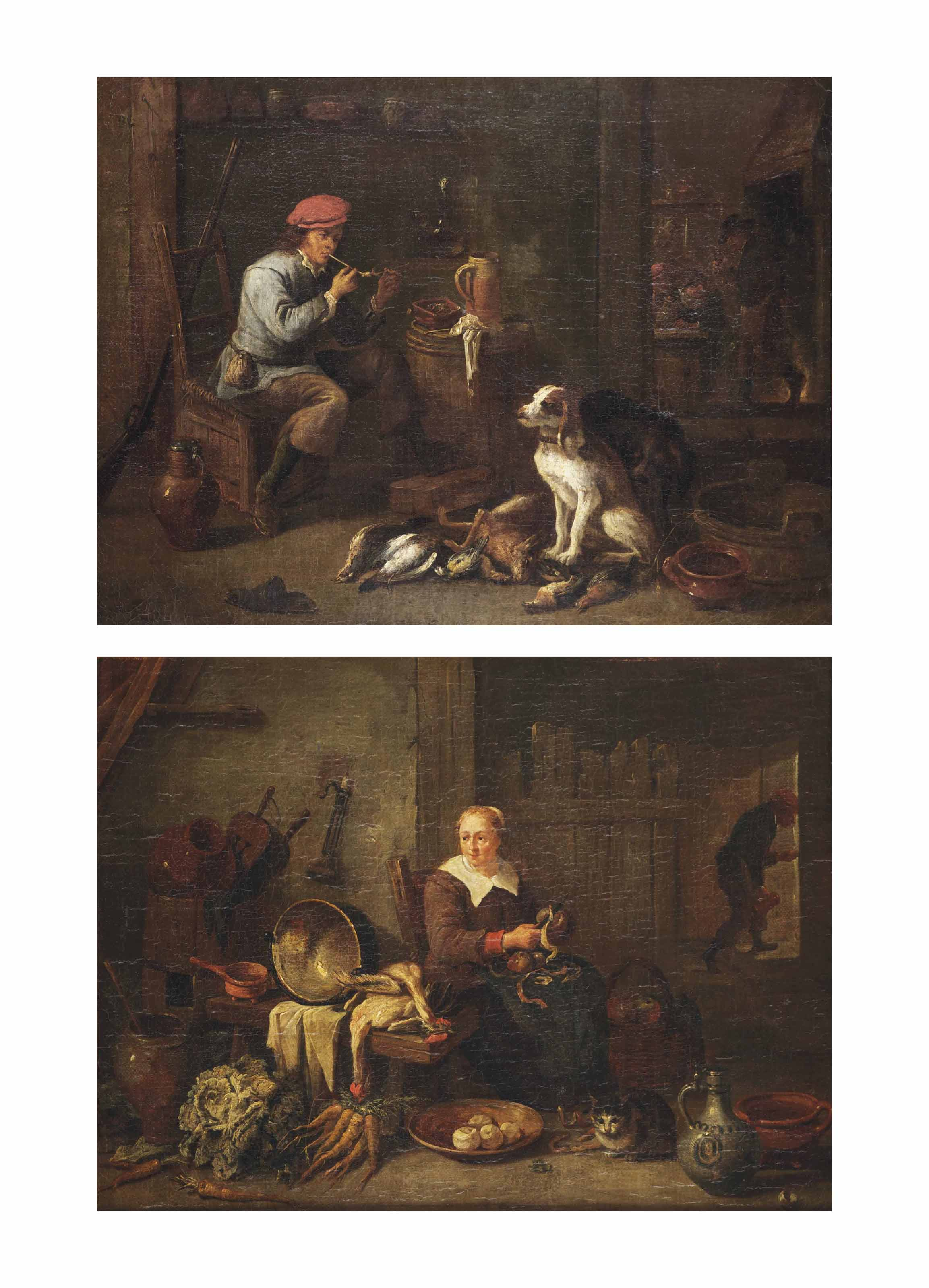 An interior with a seated hunter smoking a pipe beside his dogs and their hunt, a merry company smoking and drinking in the background; and An interior with a seated kitchen maid peeling apples with a cat, vegetables, hens and kitchen supplies, a man with a beer jug in the background
