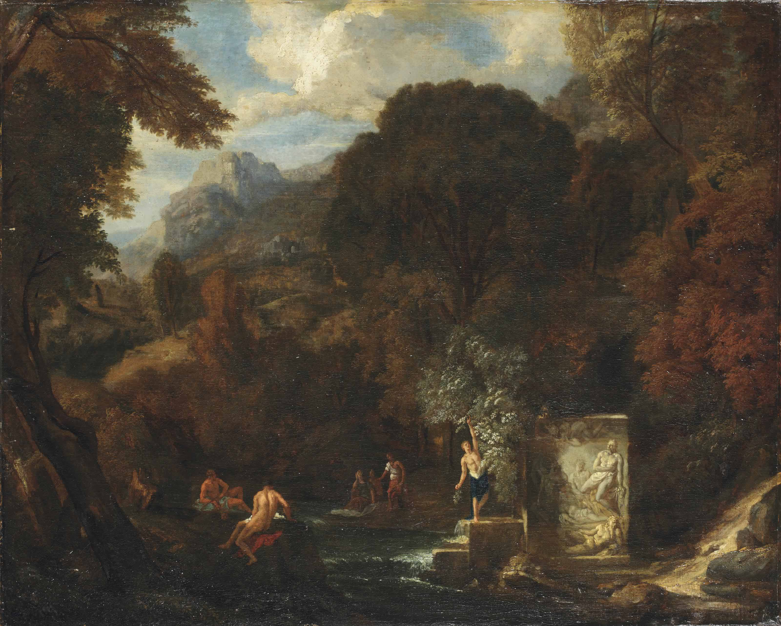 An idyllic mountainous landscape with figures by a stream