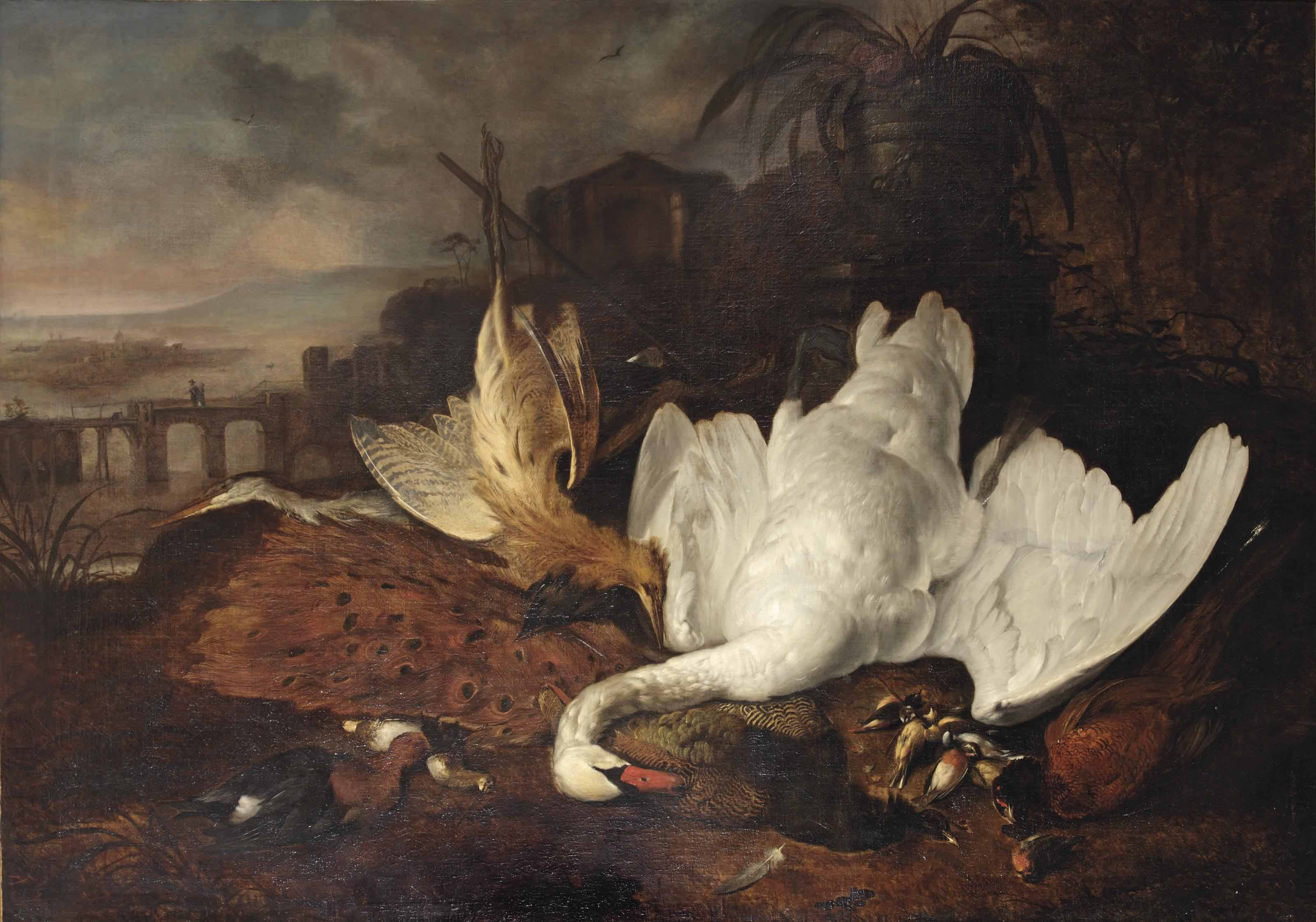 An Italianate river landscape with a swan, a Eurasian bittern, a peacock, a pheasant and other birds before a stone vase on a pedestal