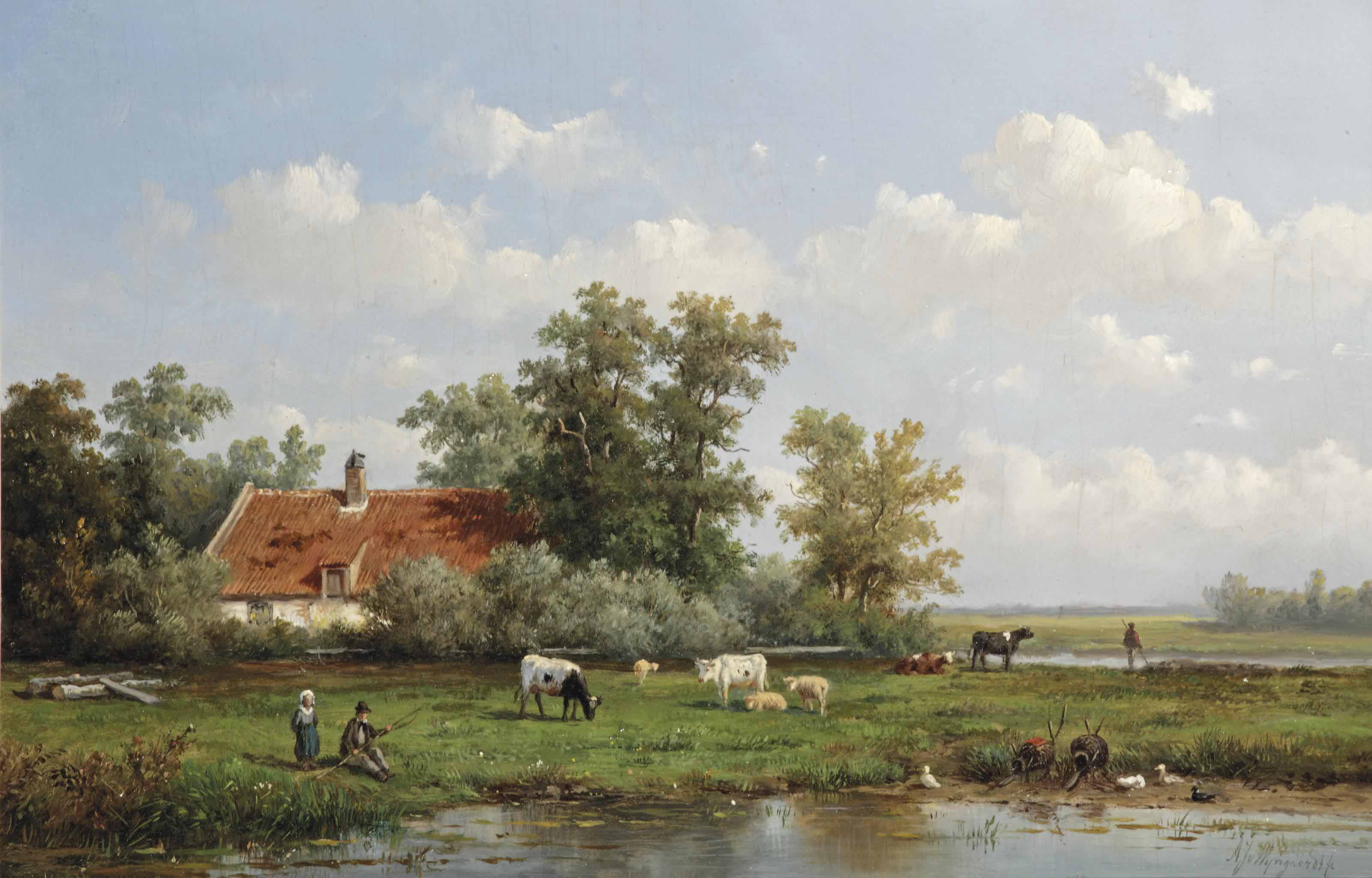 A polder landscape with figures and cattle by a farmhouse