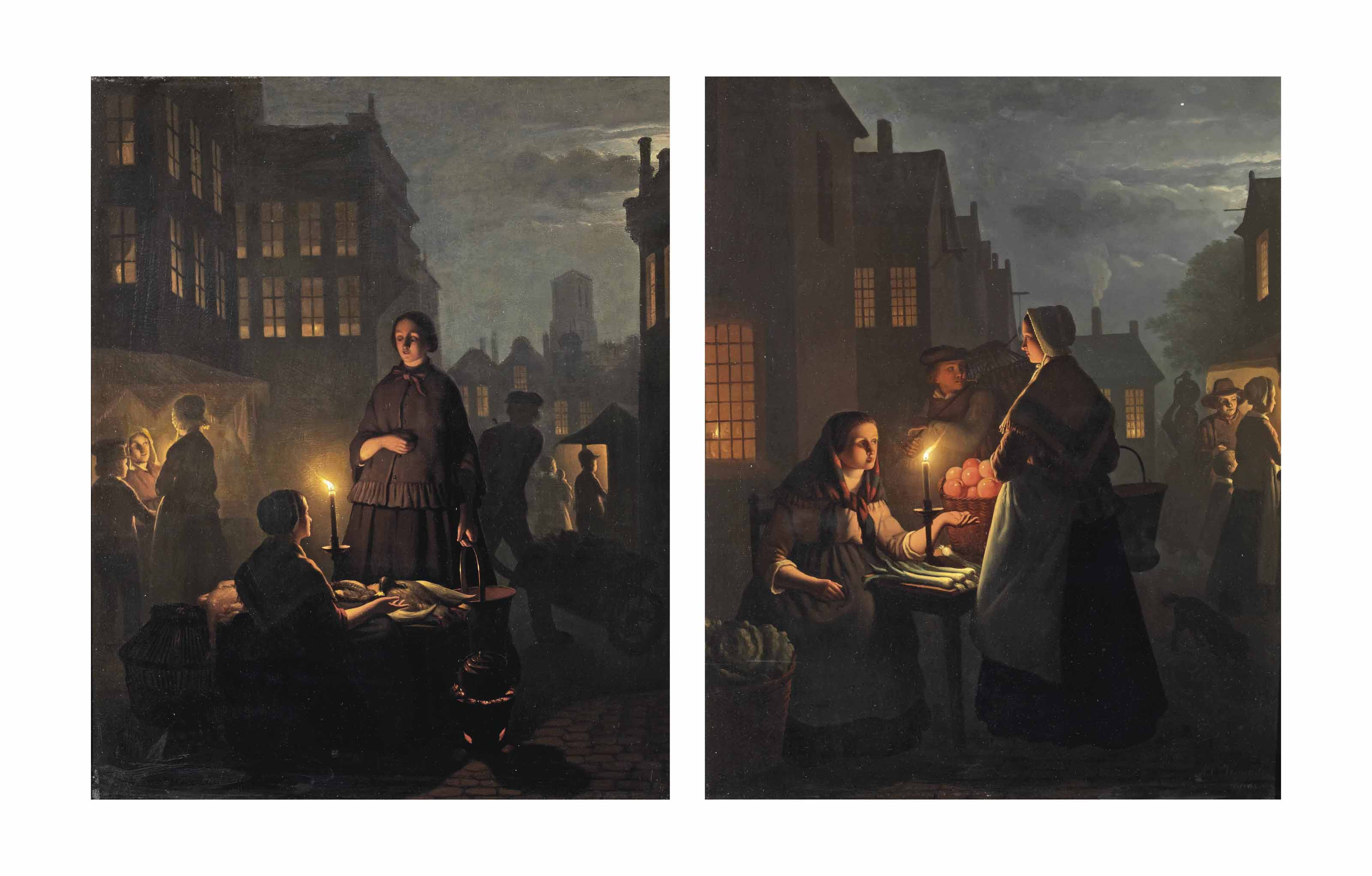 A nocturnal market scene with a poultry seller; and A nocturnal market scene with a vegetable seller