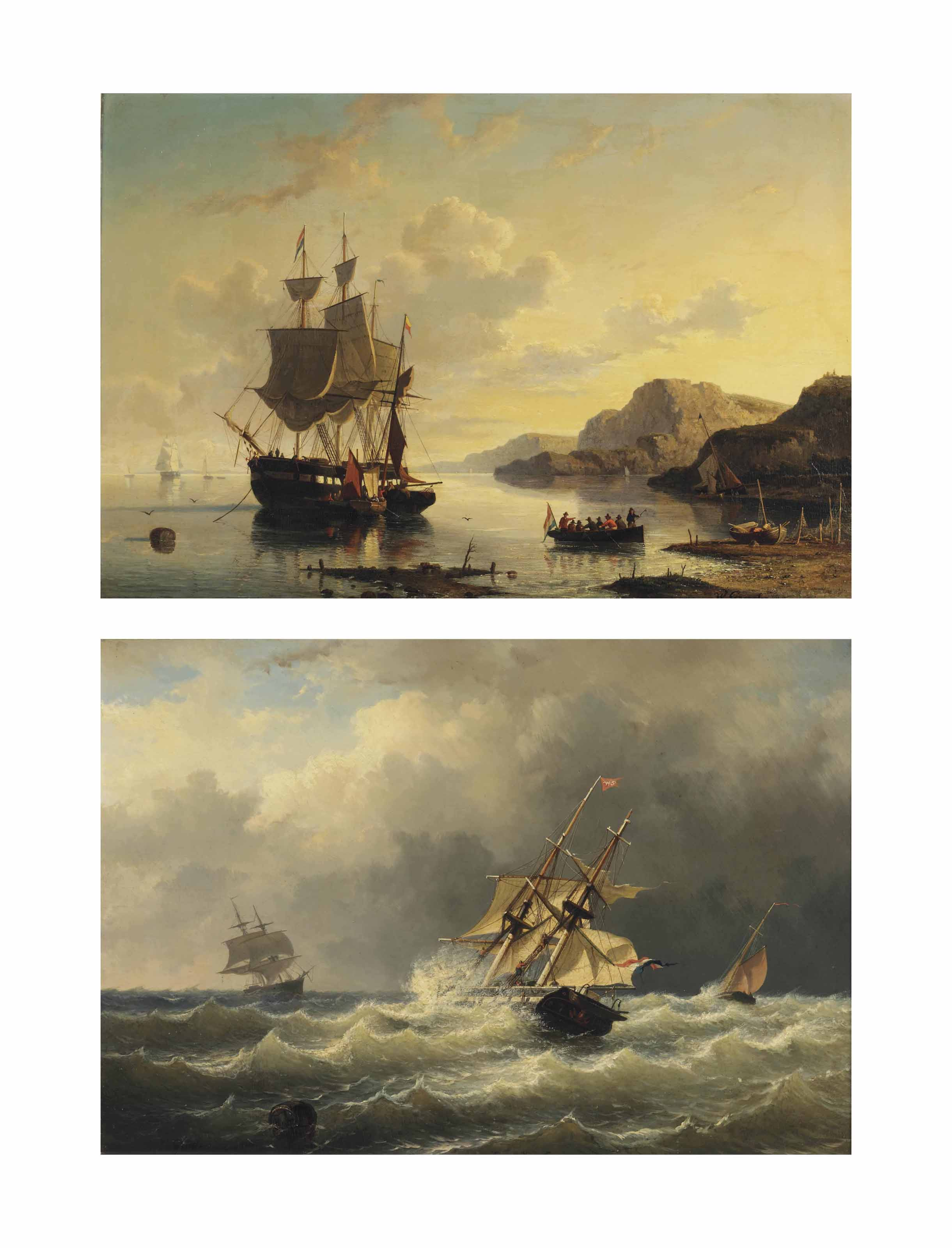 A Dutch three-master at anchor in a bay; and A Dutch two-master braving the waves