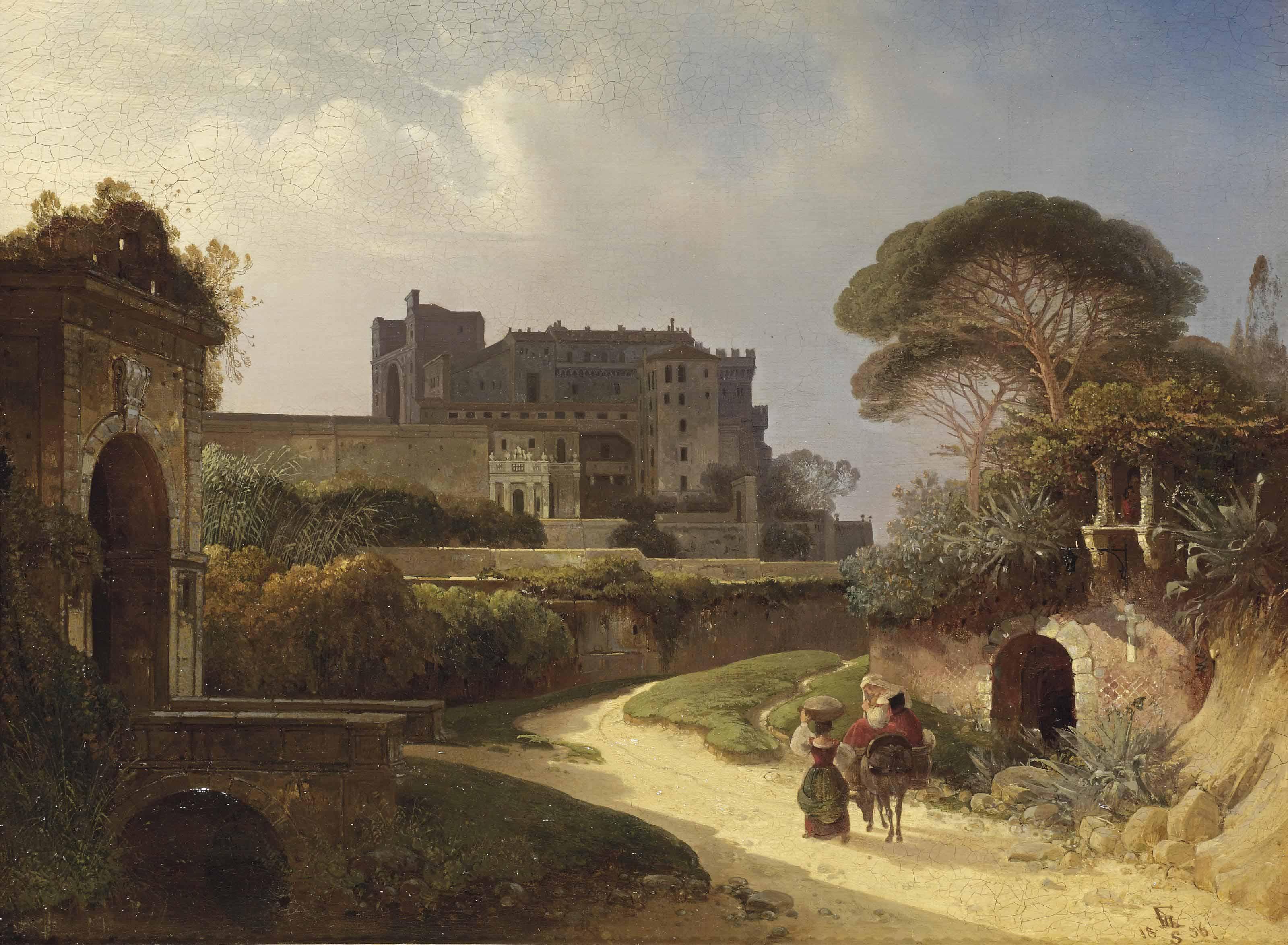 A veduta of an Italian castello and gardens
