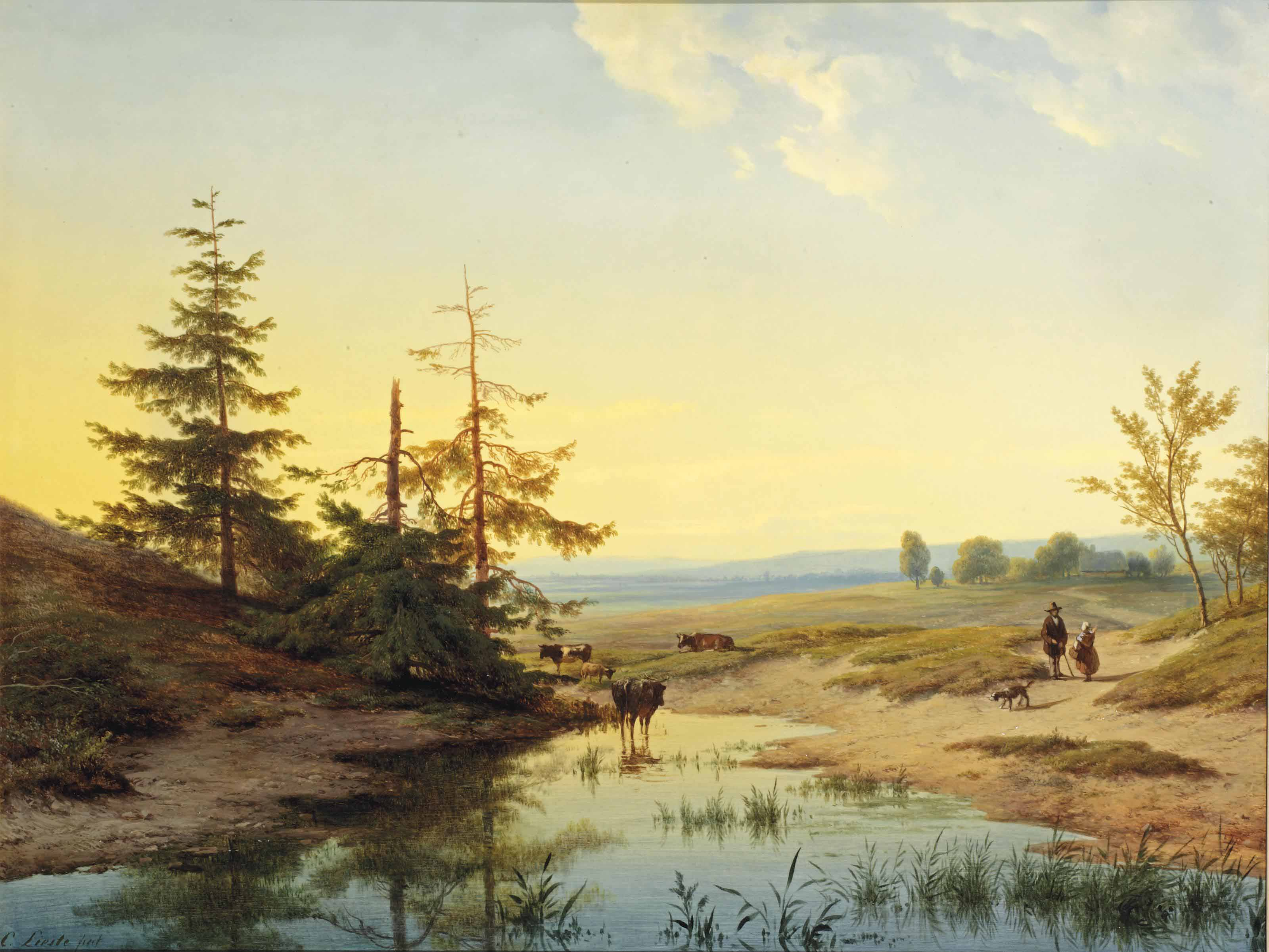A moorland with figures and cattle by a pond
