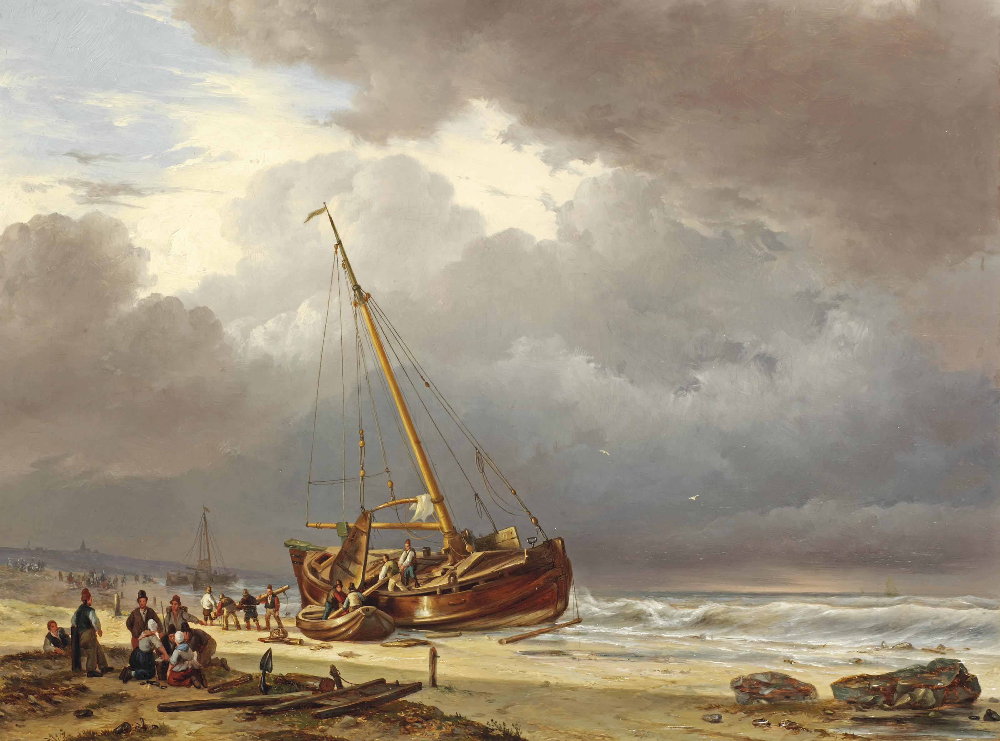 Fishermen unloading their barge on the beach