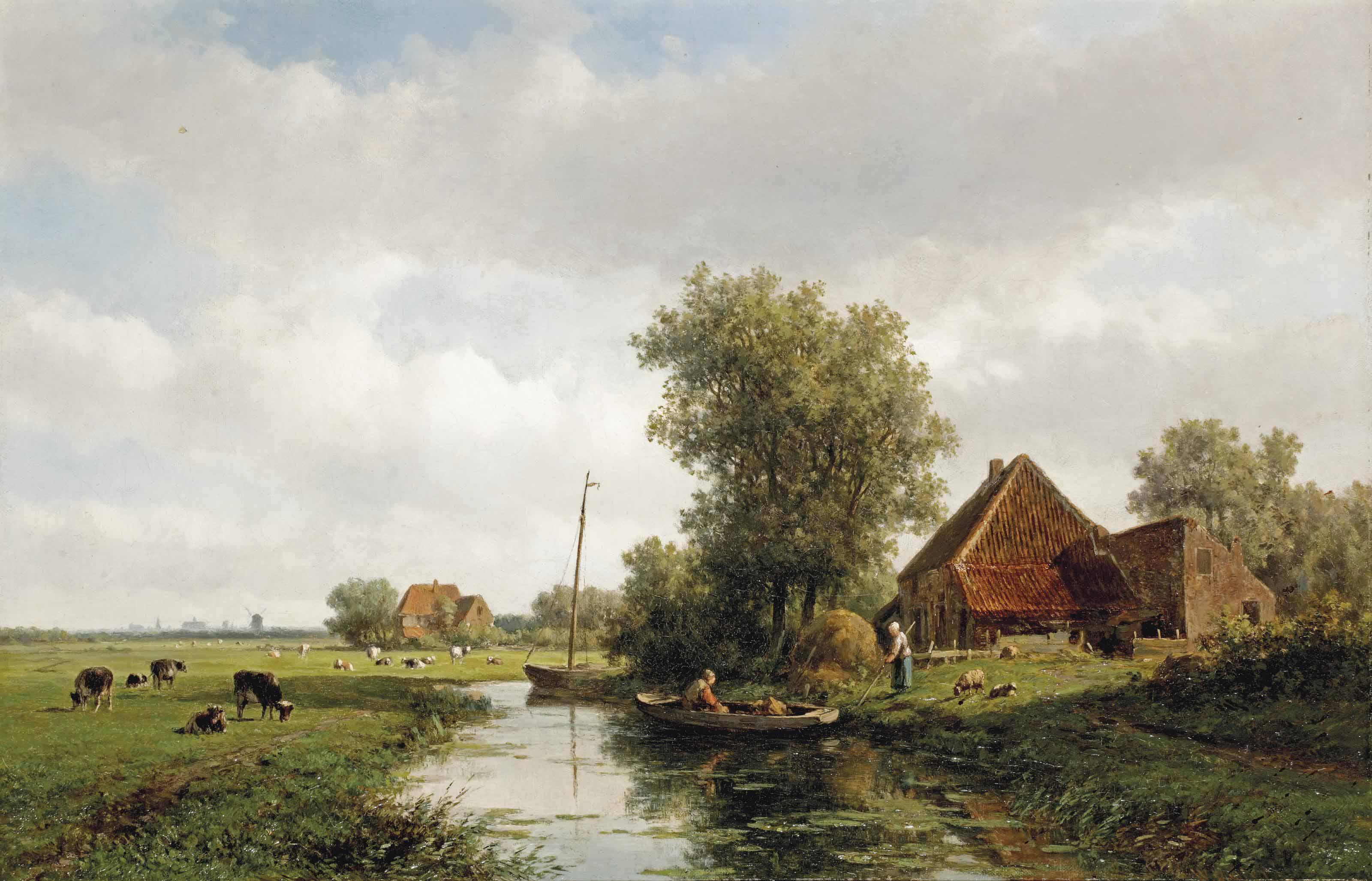 A polder landscape with cattle in a meadow, Haarlem in the distance