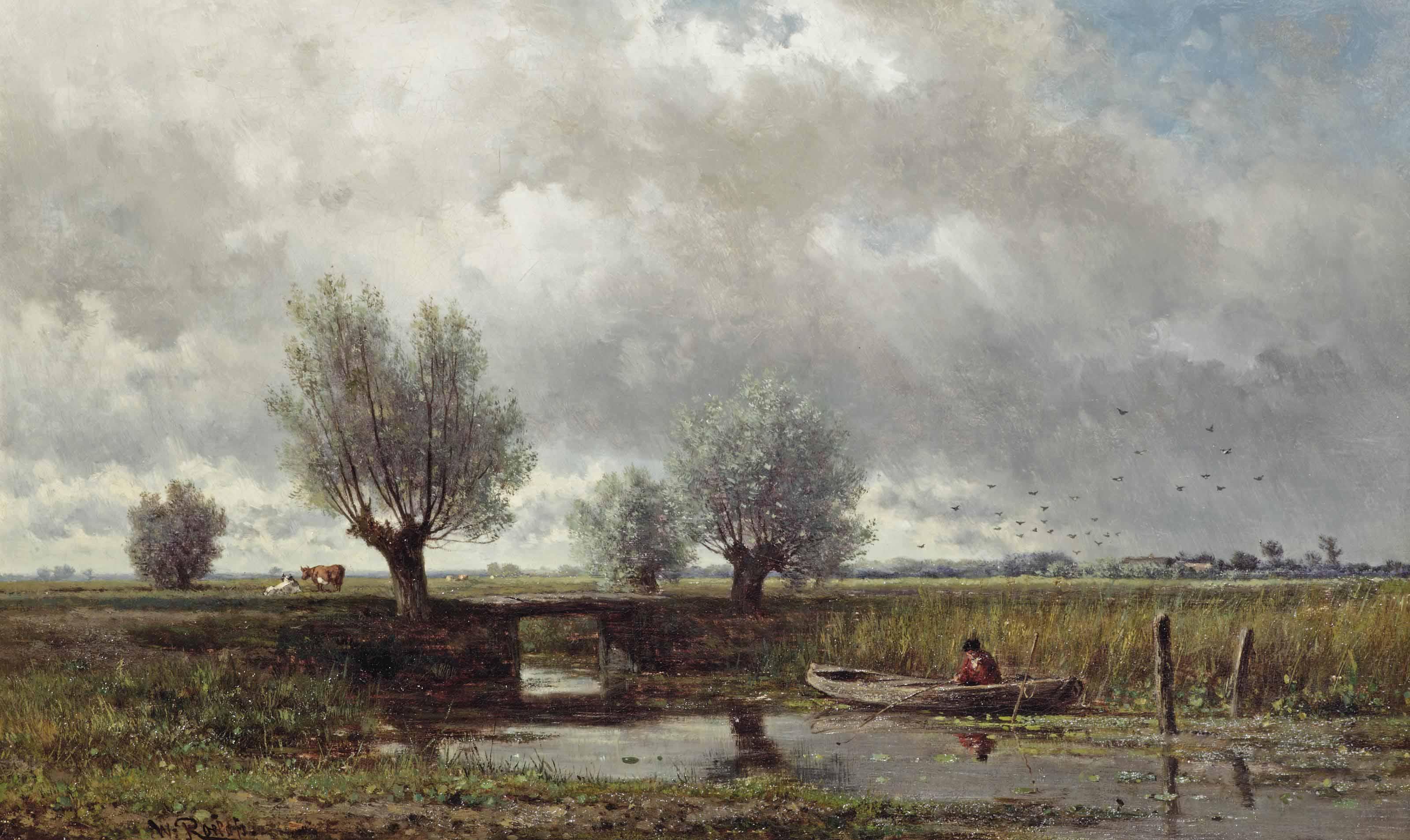 Na de regen: A fisherman in a polder landscape
