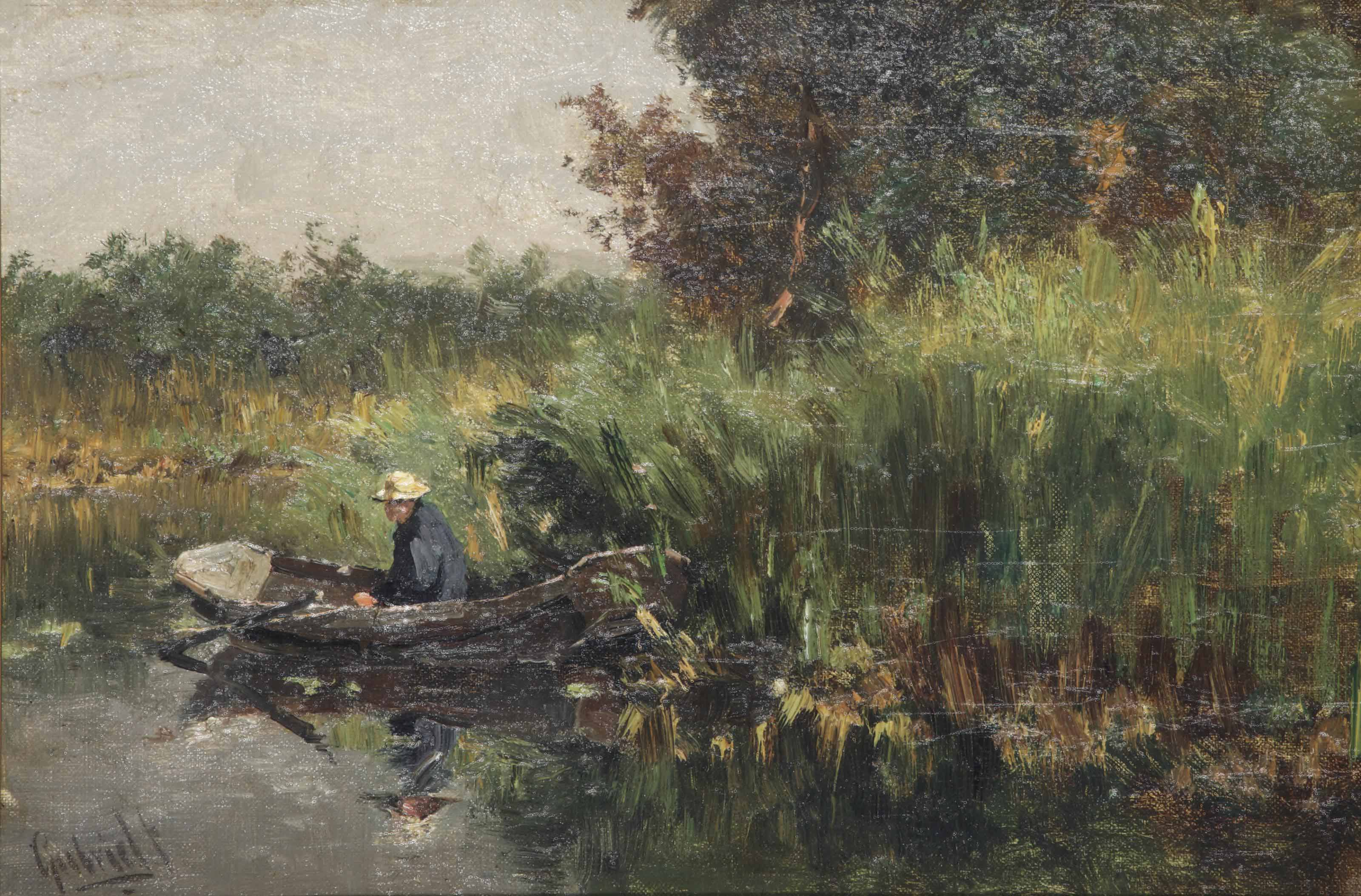 A fisherman in a rowing boat