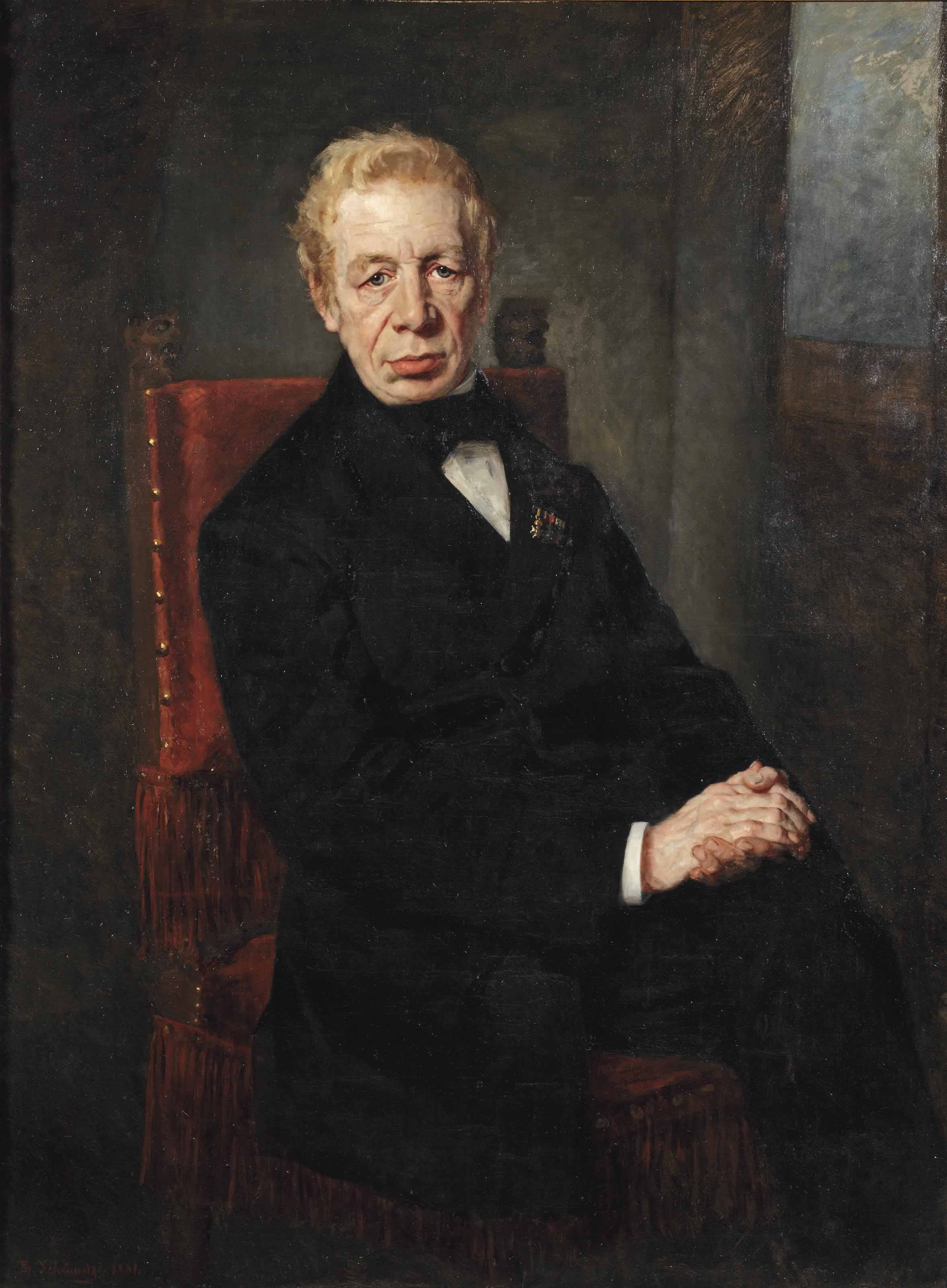 Portrait of Willem Carel Pieter Toewater (1810-1882), three-quarter-length, in a black costume seated on a chair