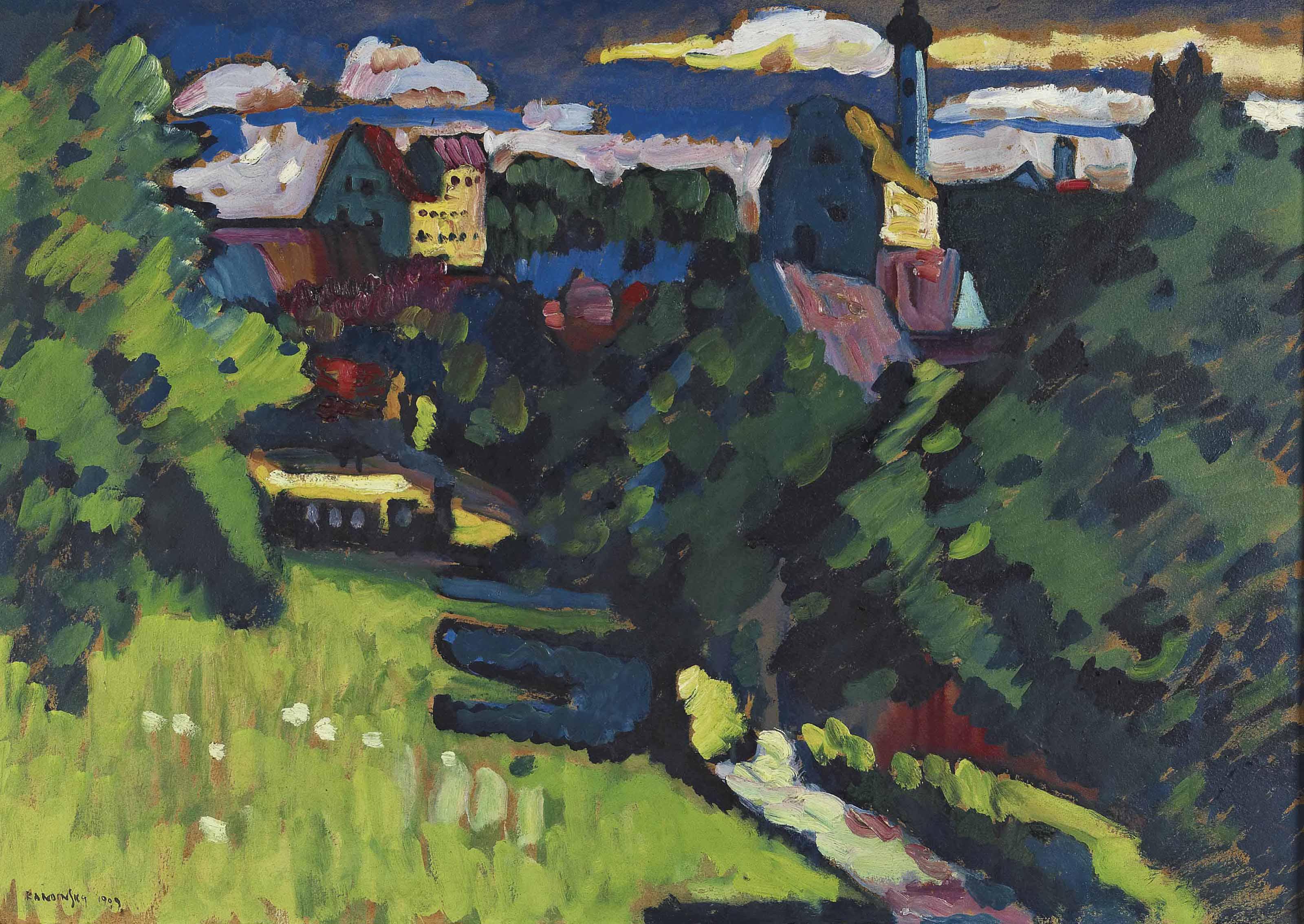 Murnau - Ansicht mit Burg, Kirche und Eisenbahn