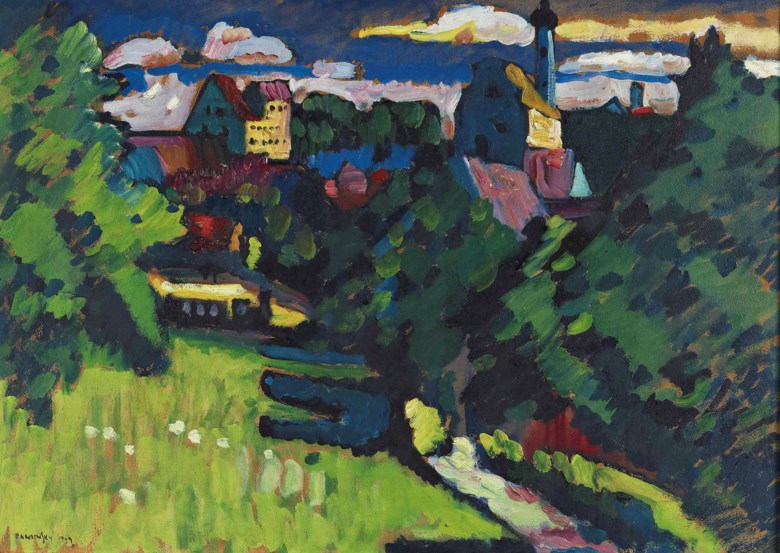 Wassily Kandinsky (1866-1944), Murnau — Ansicht mit Burg, Kirche und Eisenbahn, 1909. 18⅞ x 27⅛  in (48 x 69  cm). Sold for £6,761,250 on 6 February 2013  at Christie's in London