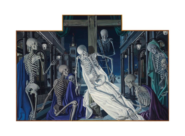 Paul Delvaux (1897-1994), Ecce homo (La descente de croix), 1949. 70⅞ x 102⅜  in (180 x 260  cm) (irregular). Sold for £1,721,250 on 6 February 2013  at Christie's in London © Foundation Paul Delvaux, Sint-Idesbald - SABAM BelgiumDACS 2018