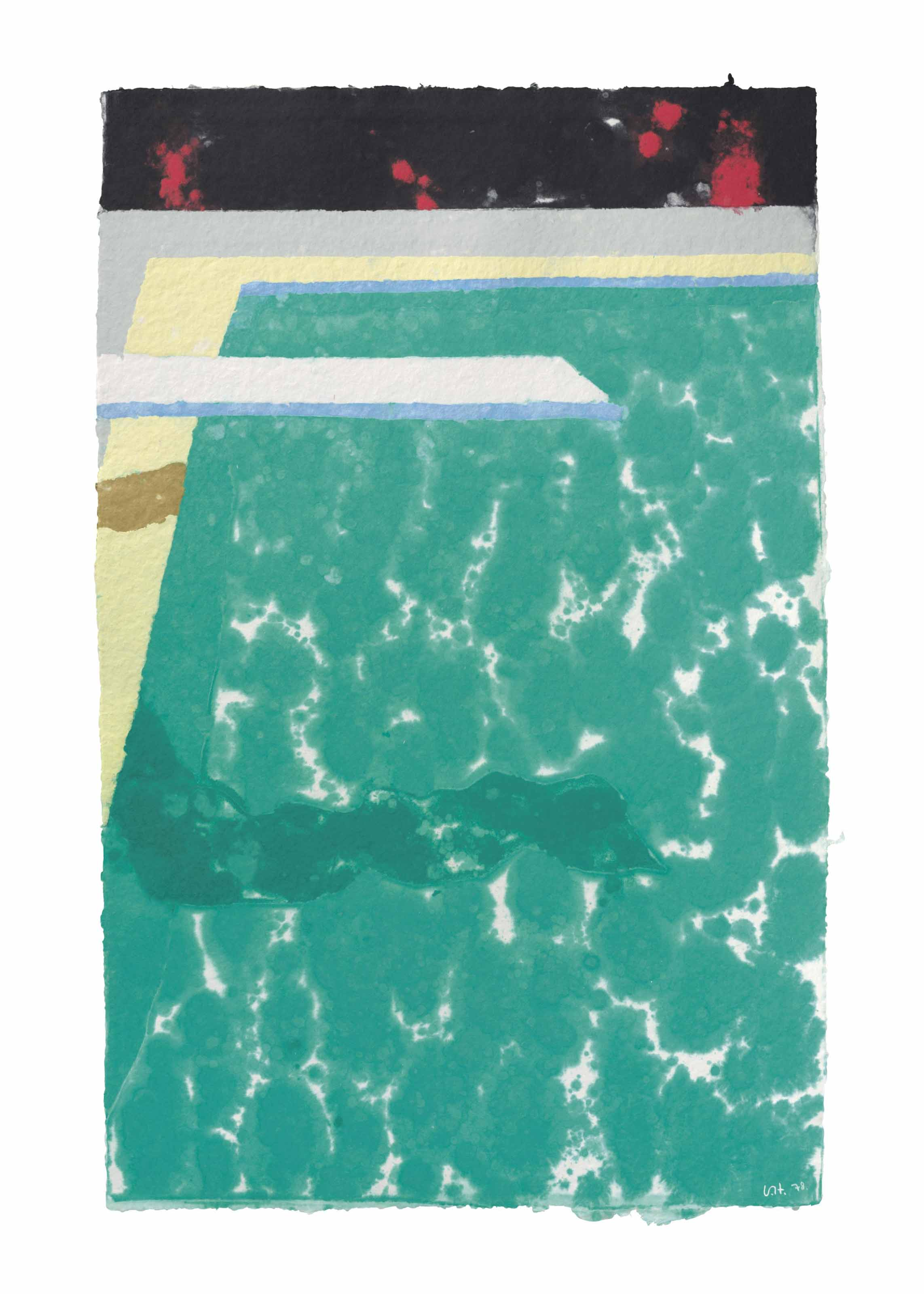Green Pool with Diving Board and Shadow