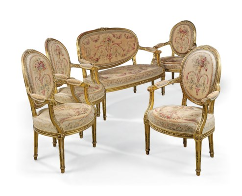 A french giltwood and tapestry five piece salon suite of for 212 salon st louis