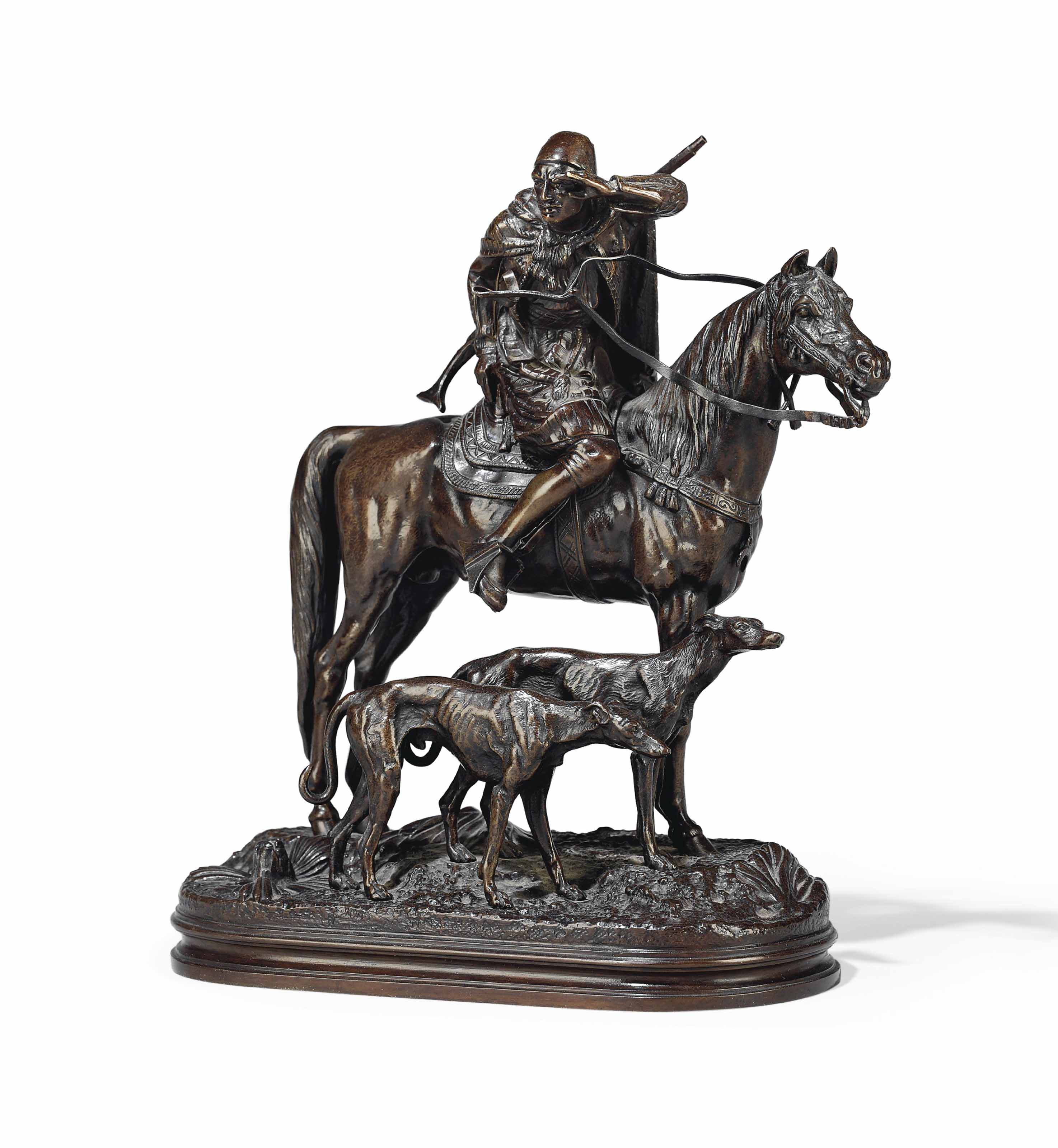 A FRENCH BRONZE GROUP ENTITLED 'THE HUNTER'