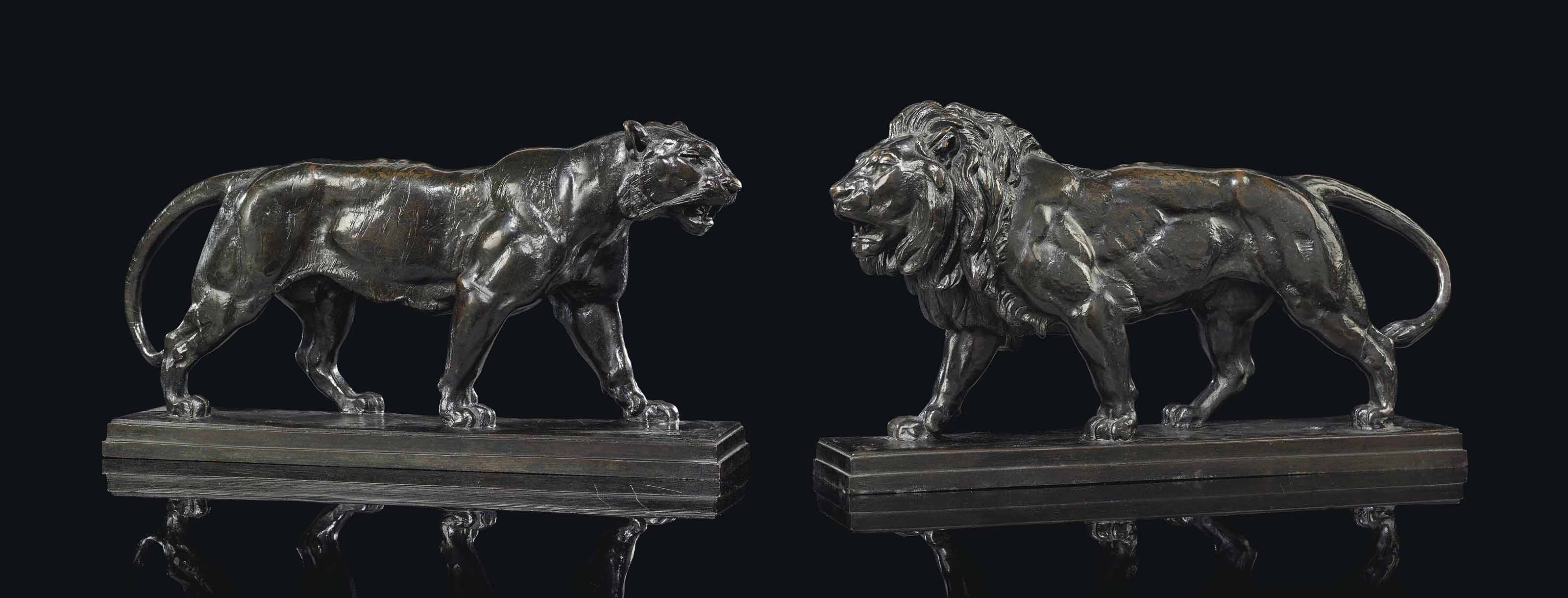 A PAIR OF BRONZE STUDIES ENTITLED 'TIGRE QUI MARCHE' AND 'LION QUI MARCHE'