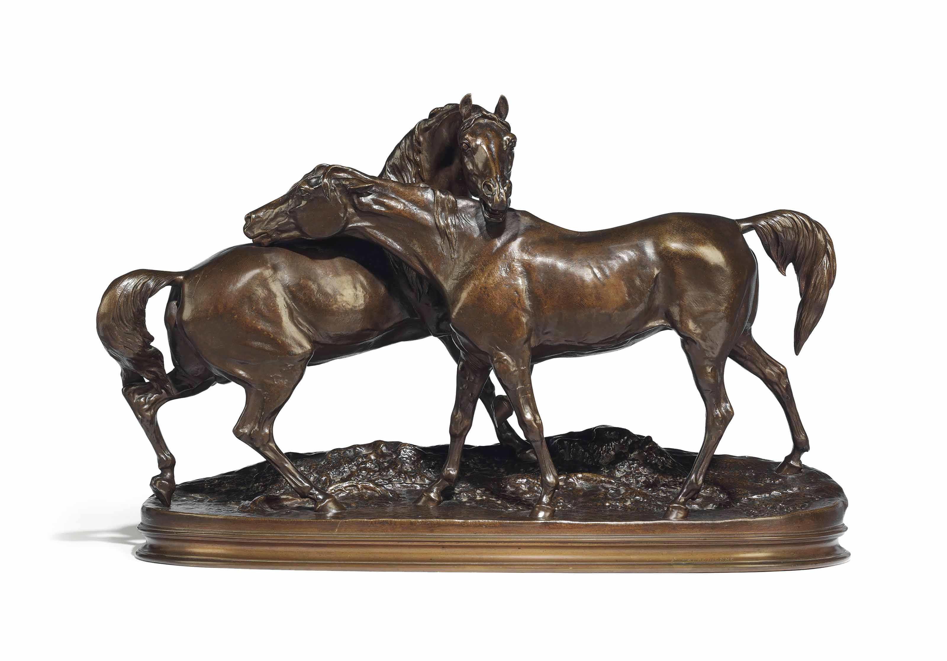 A FRENCH BRONZE EQUESTRIAN GROUP OF TWO HORSES, ENTITLED 'GROUP CHEVEAUX ARABES NO 1 (OU ACCOLADE NO 1)'
