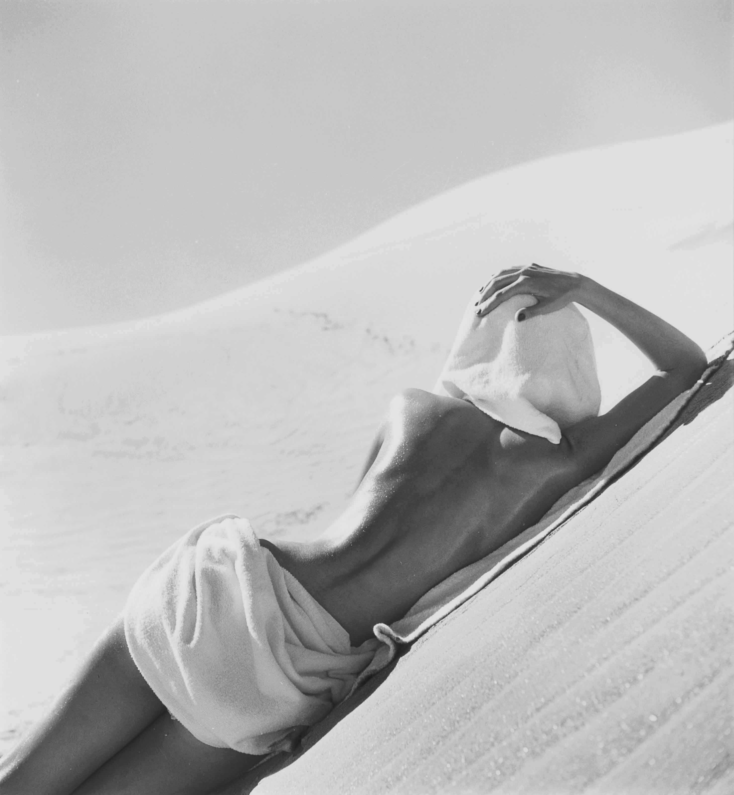 Nude on beach, California, 1948