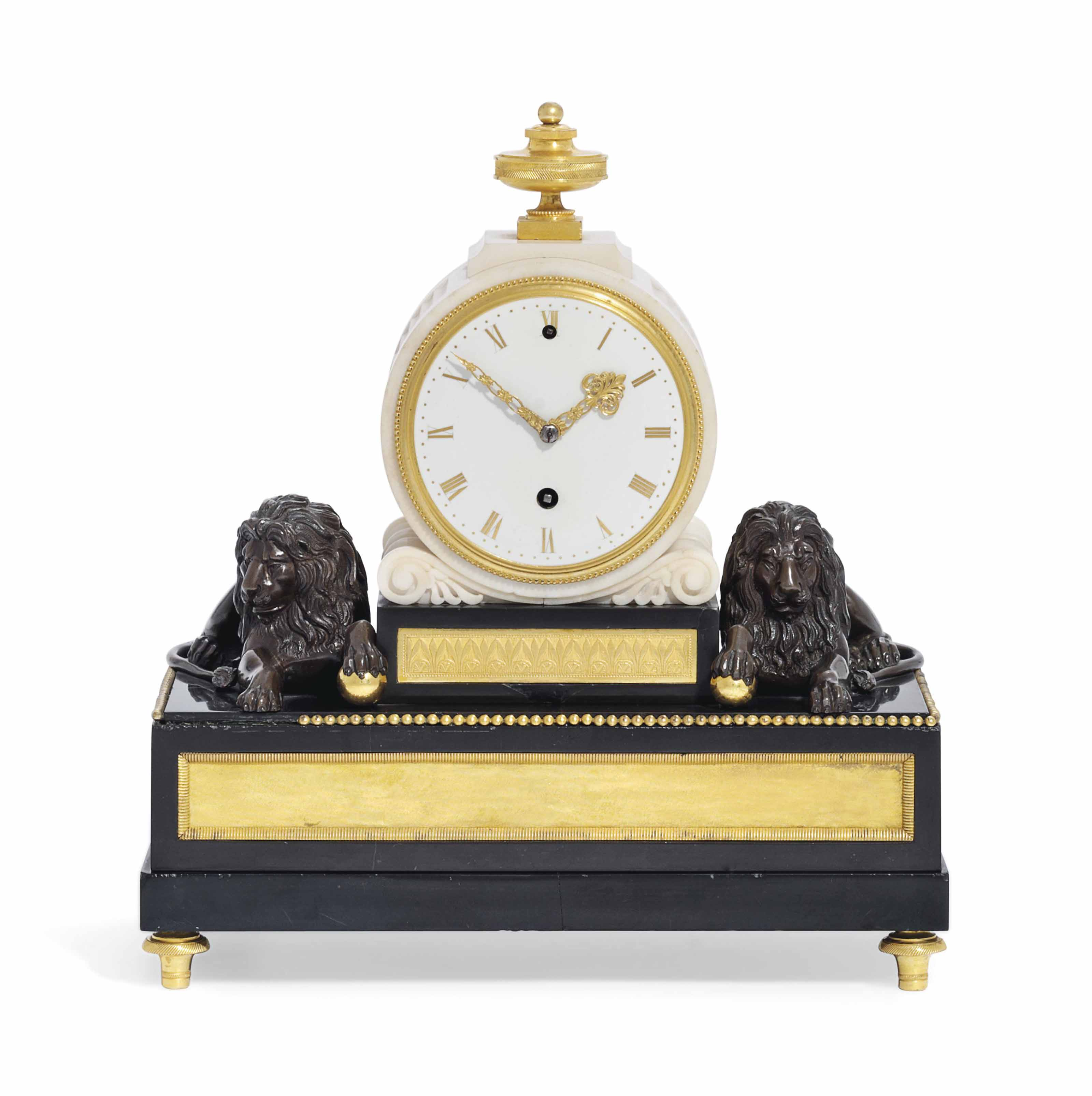 A GEORGE III ORMOLU-MOUNTED AND PATINATED BRONZE MARBLE MANTEL TIMEPIECE