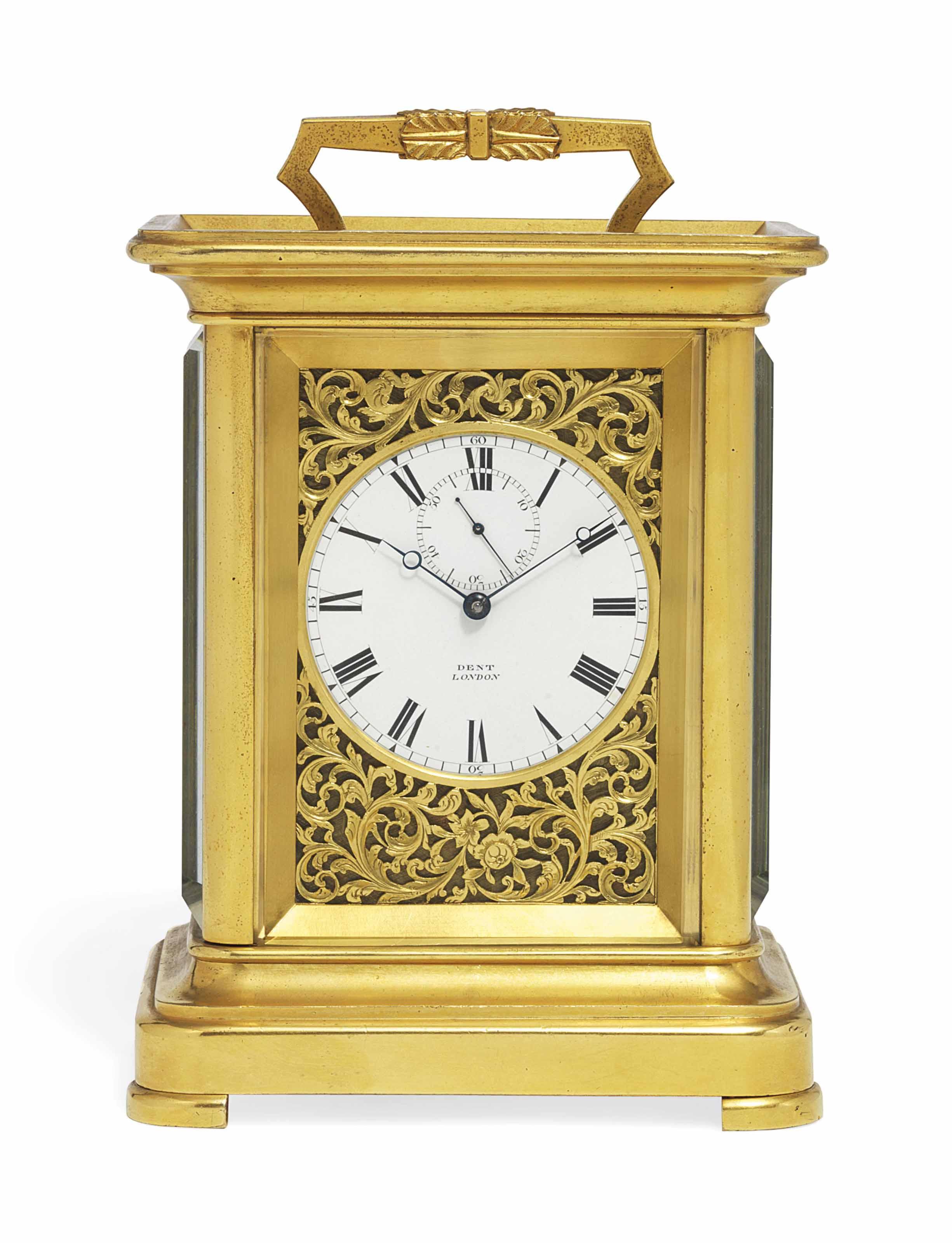 A VICTORIAN GILT-BRASS EIGHT-DAY CHRONOMETER CARRIAGE TIMEPIECE