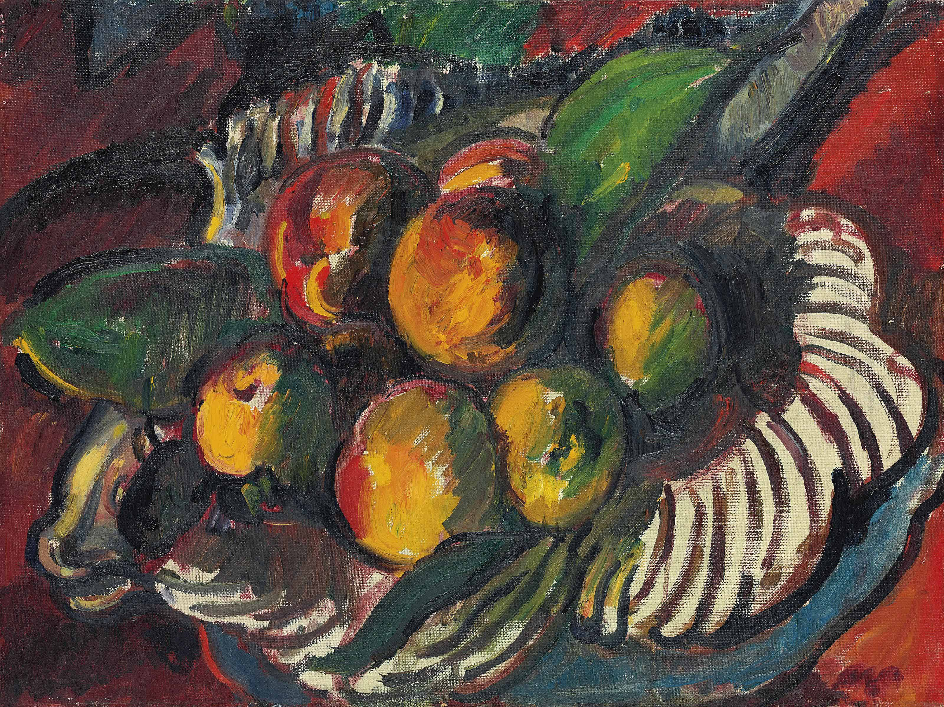 Apples and pears in a striped bowl