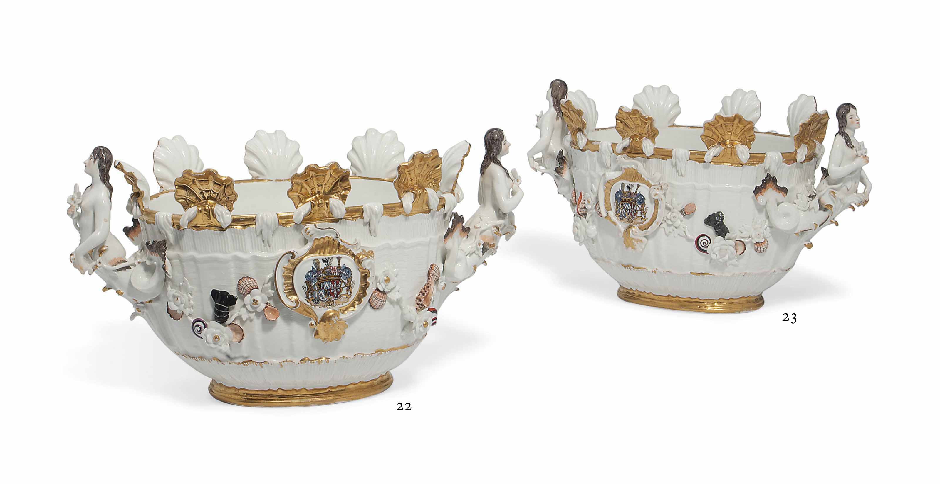 A MEISSEN ARMORIAL OVAL MONTEITH FROM THE SWAN SERVICE