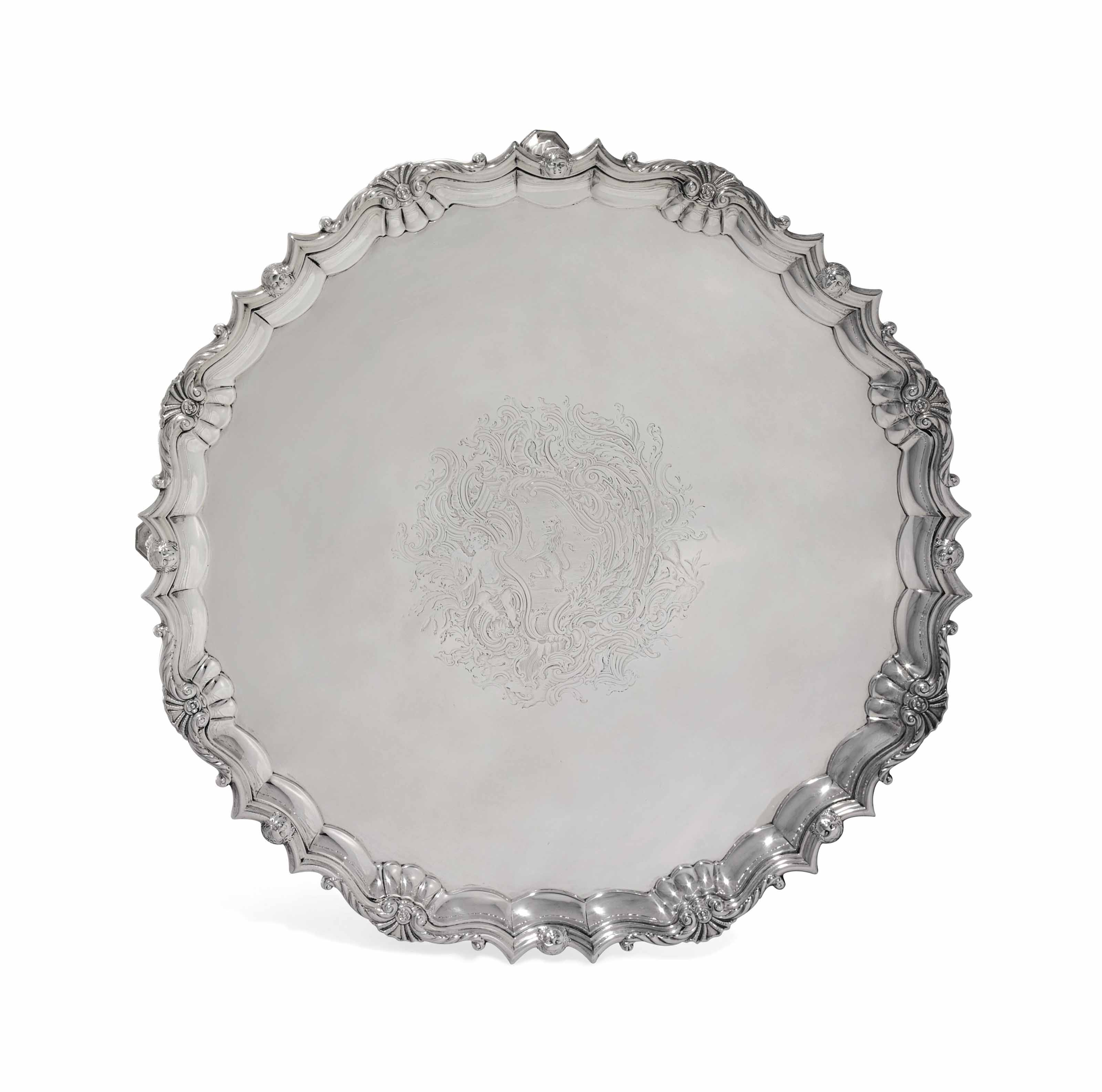 A GEORGE II IRISH SILVER SALVER
