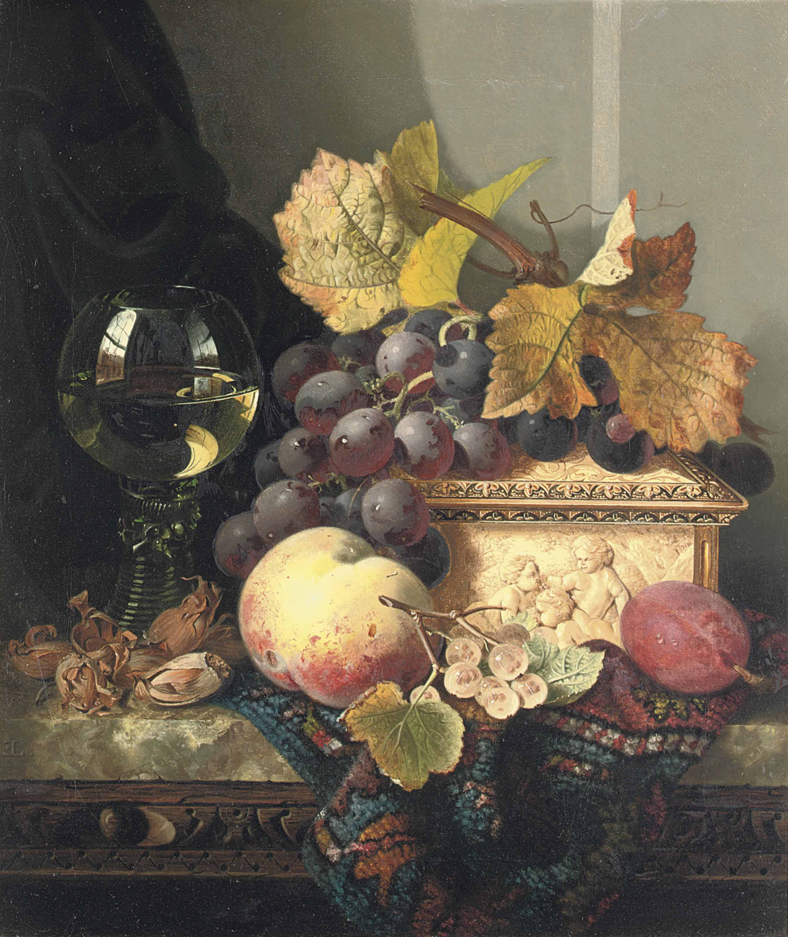 Black grapes, a peach, a plum, white currants, hazelnuts, a roemer and an ivory casket on a carpet on a marble ledge