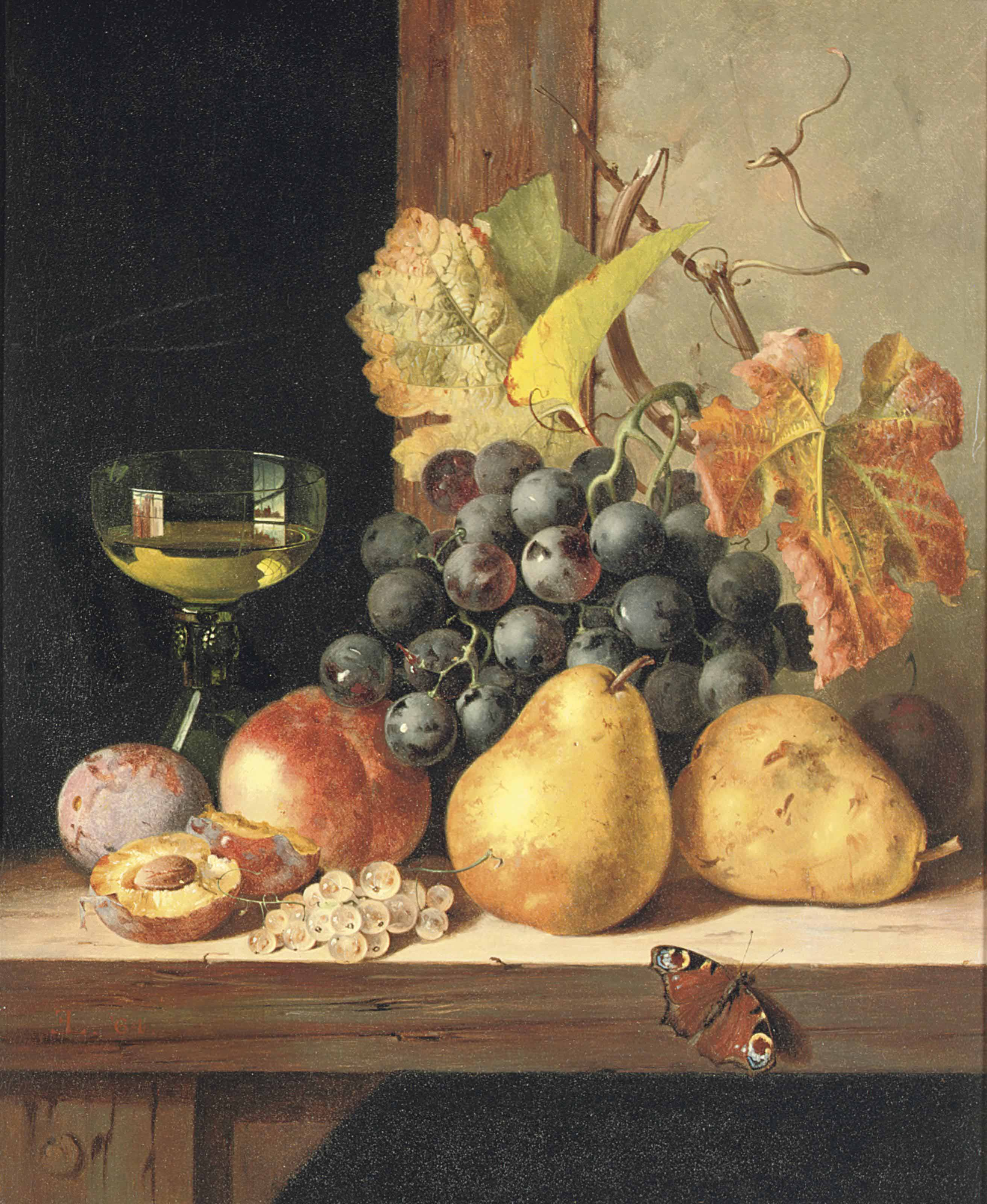 Black grapes, pears, a peach, plums, white currants, a peacock butterfly and a roemer on a wooden ledge
