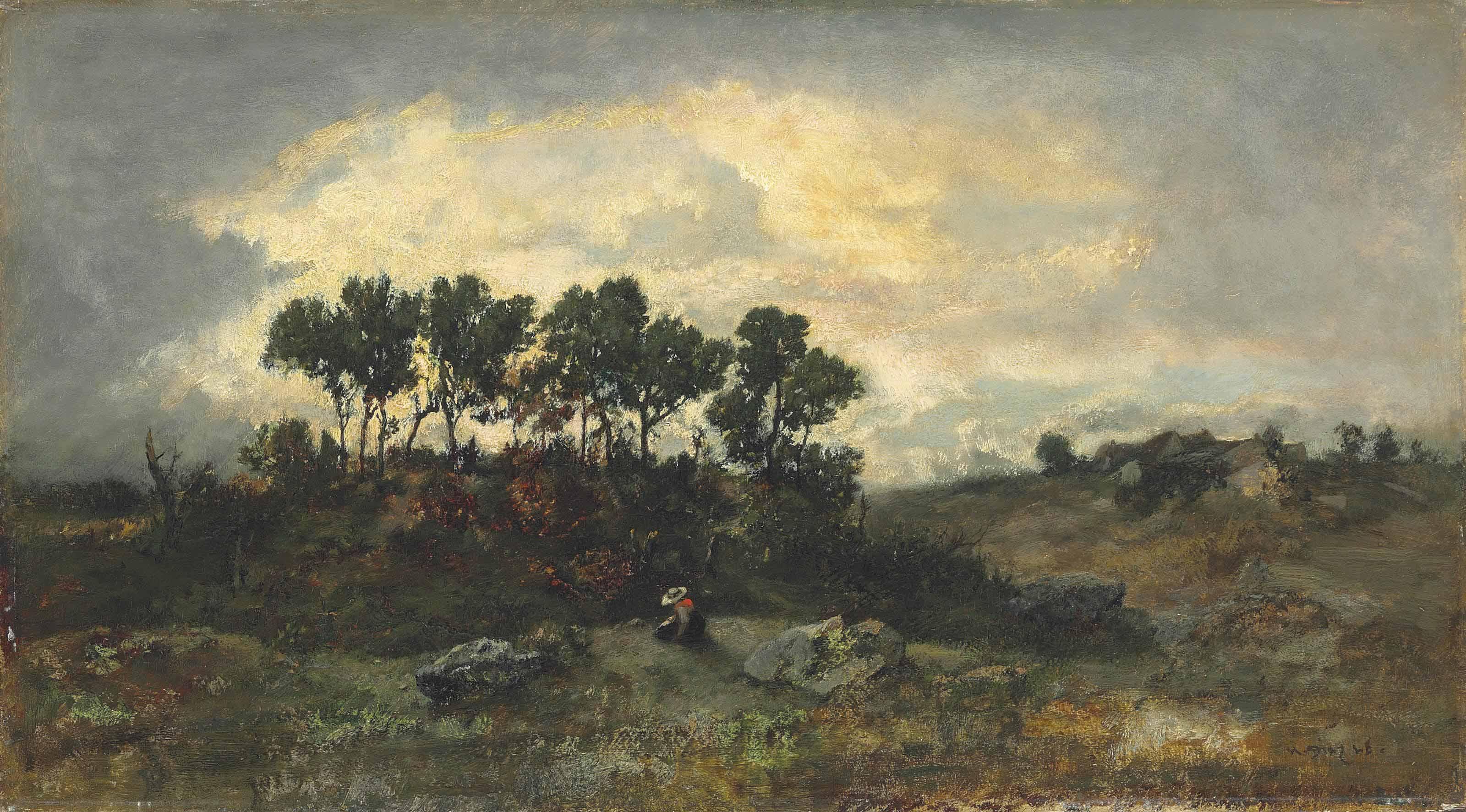 Apremont et sentier du Jean-de-Paris (femme assise sur des rochers)