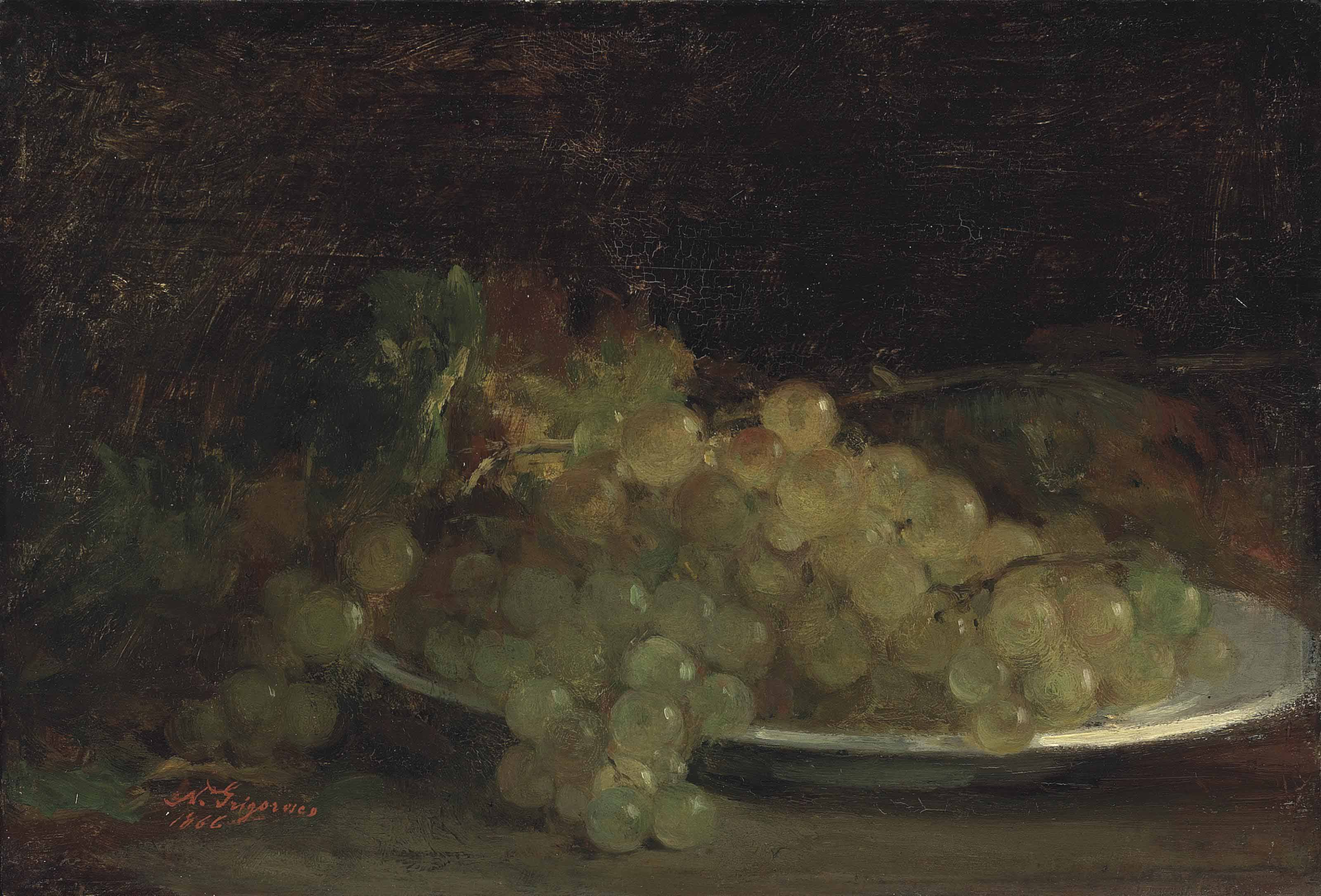 Still life with grapes (recto); and Hay wagon and cattle (verso)