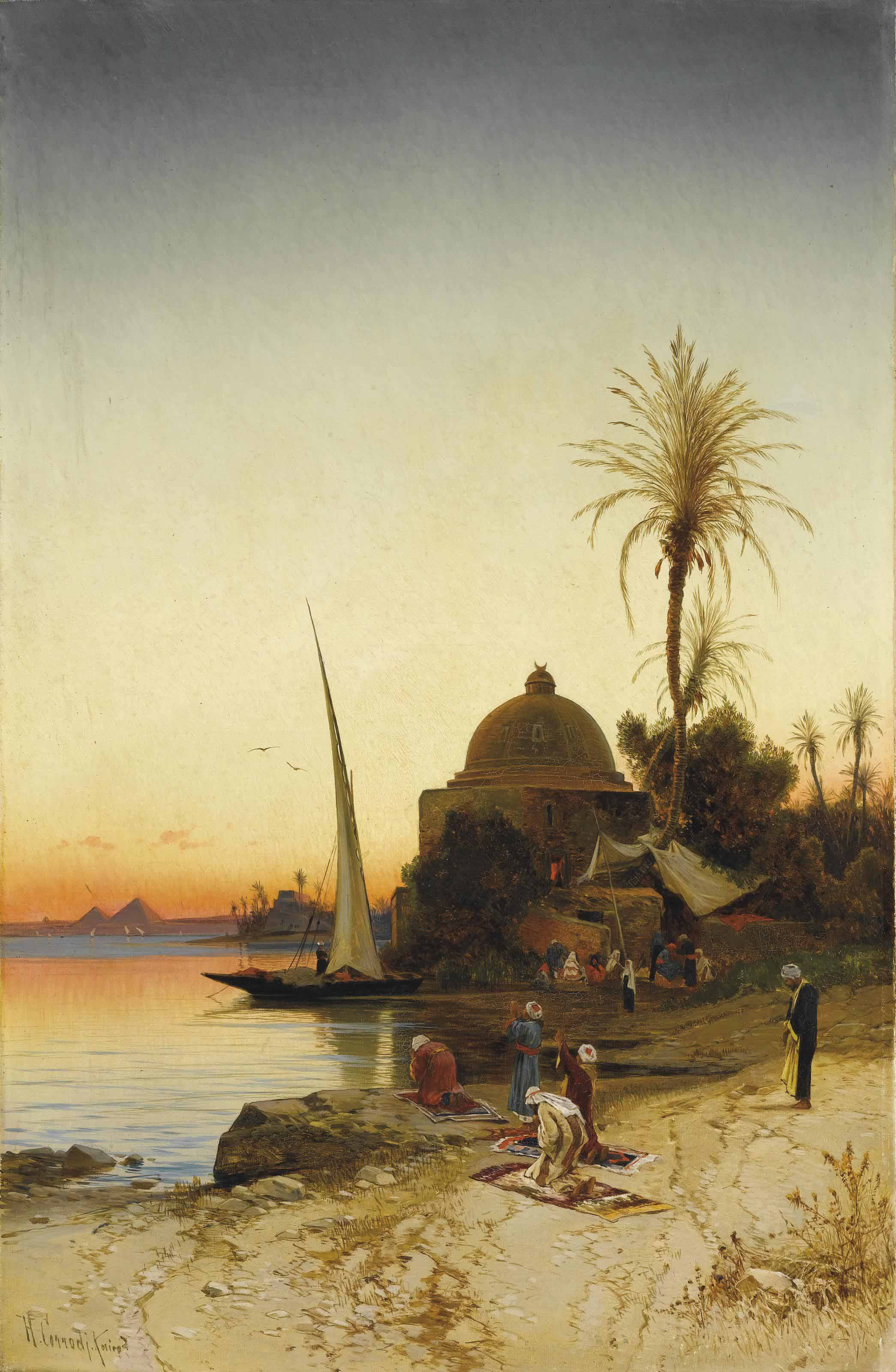 Prayers at the bank of the river Nile