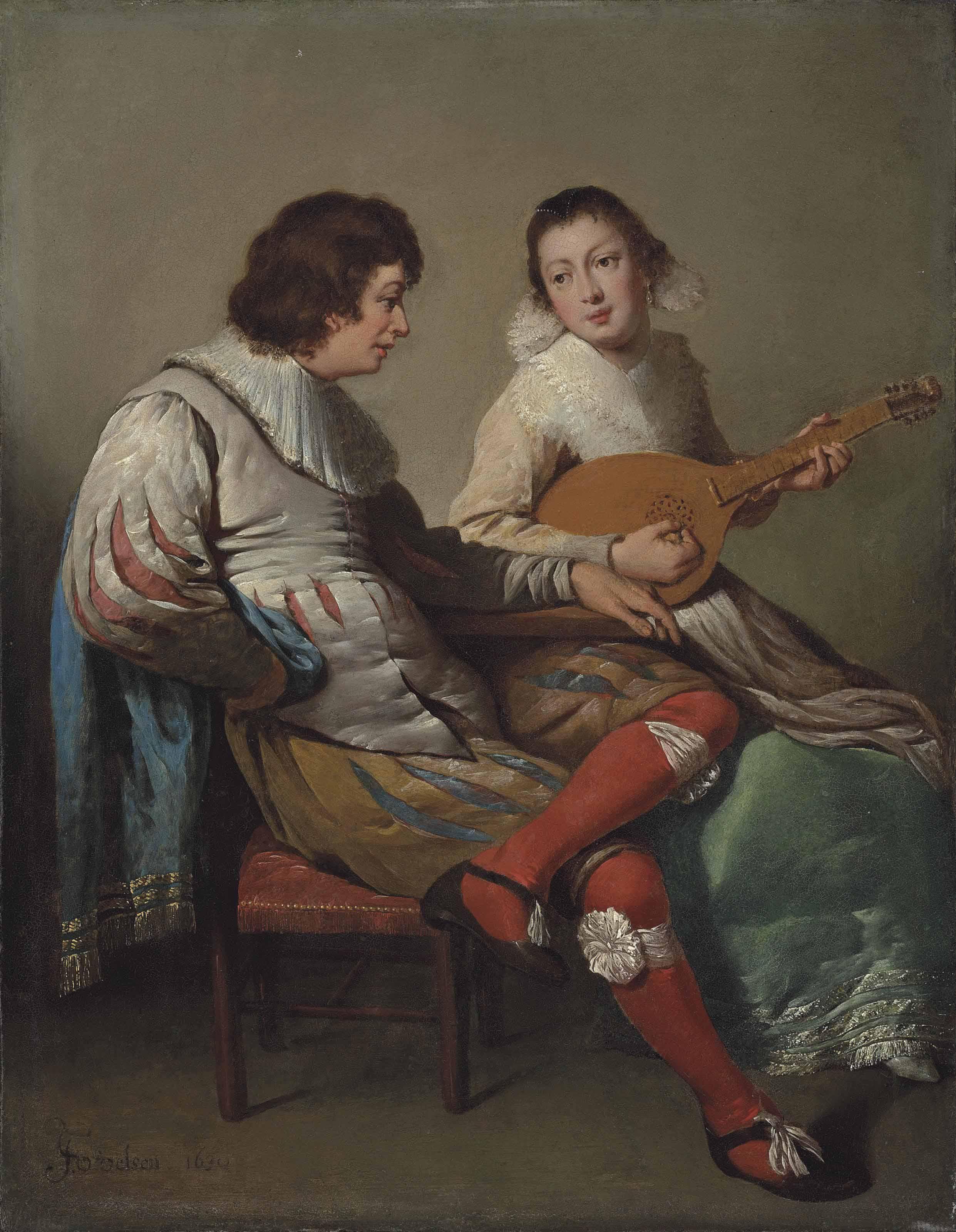 An elegant couple playing music