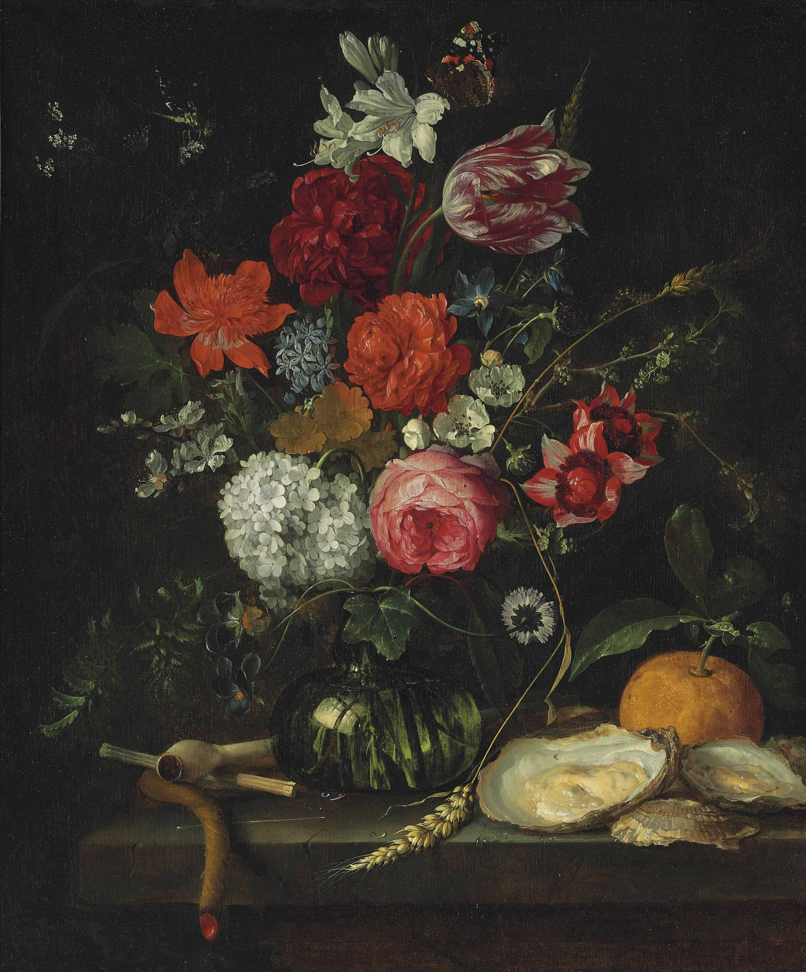 A tulip, roses, apple blossoms, cornflowers and other flowers in a glass vase on a stone ledge, with a pipe, taper, oysters and an orange, with a butterfly