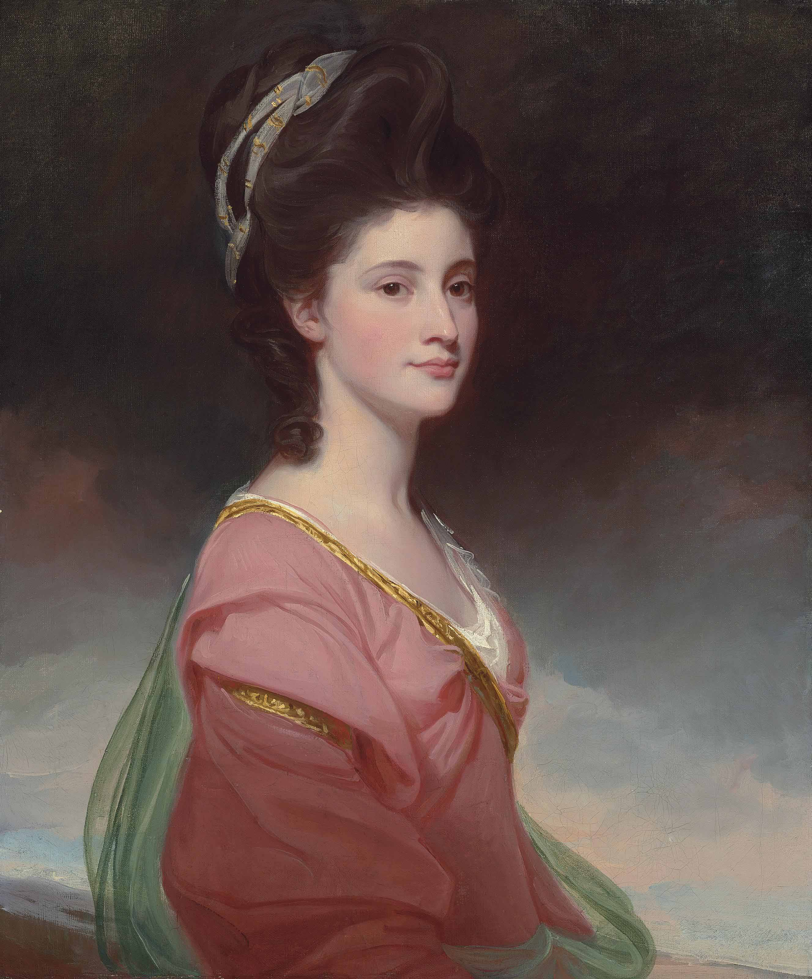 Portrait of Elizabeth Ramus (1751-1848), daughter of Nicholas Ramus and subsequently wife of Baron de Nougal, half-length, in a pink dress with gold trim and a green shawl, her hair tied with a gold-embroidered white muslin scarf