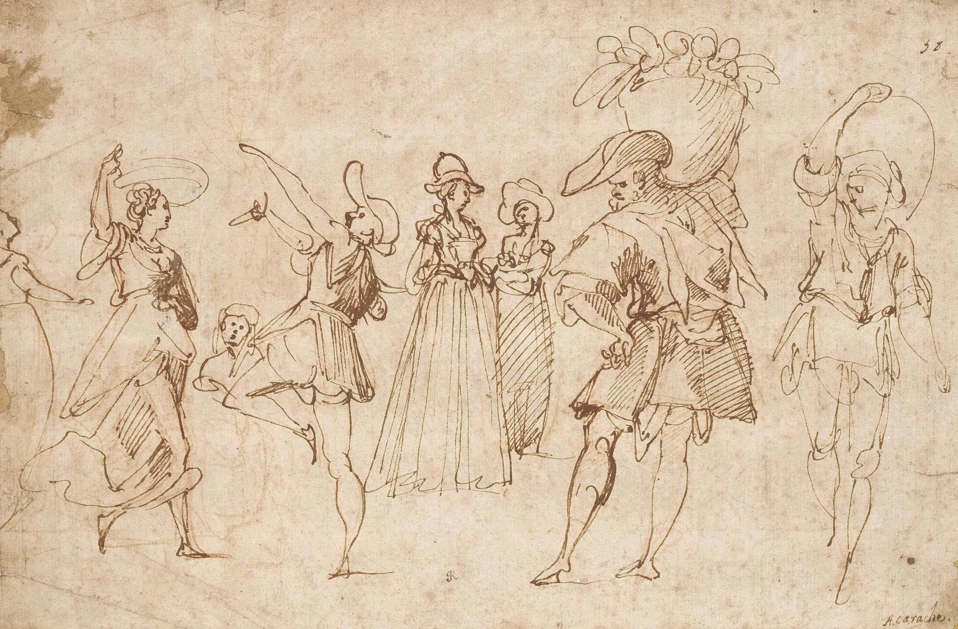A sheet of figure studies: A man and woman dancing, two elegant ladies, and two men carrying baskets on their shoulders