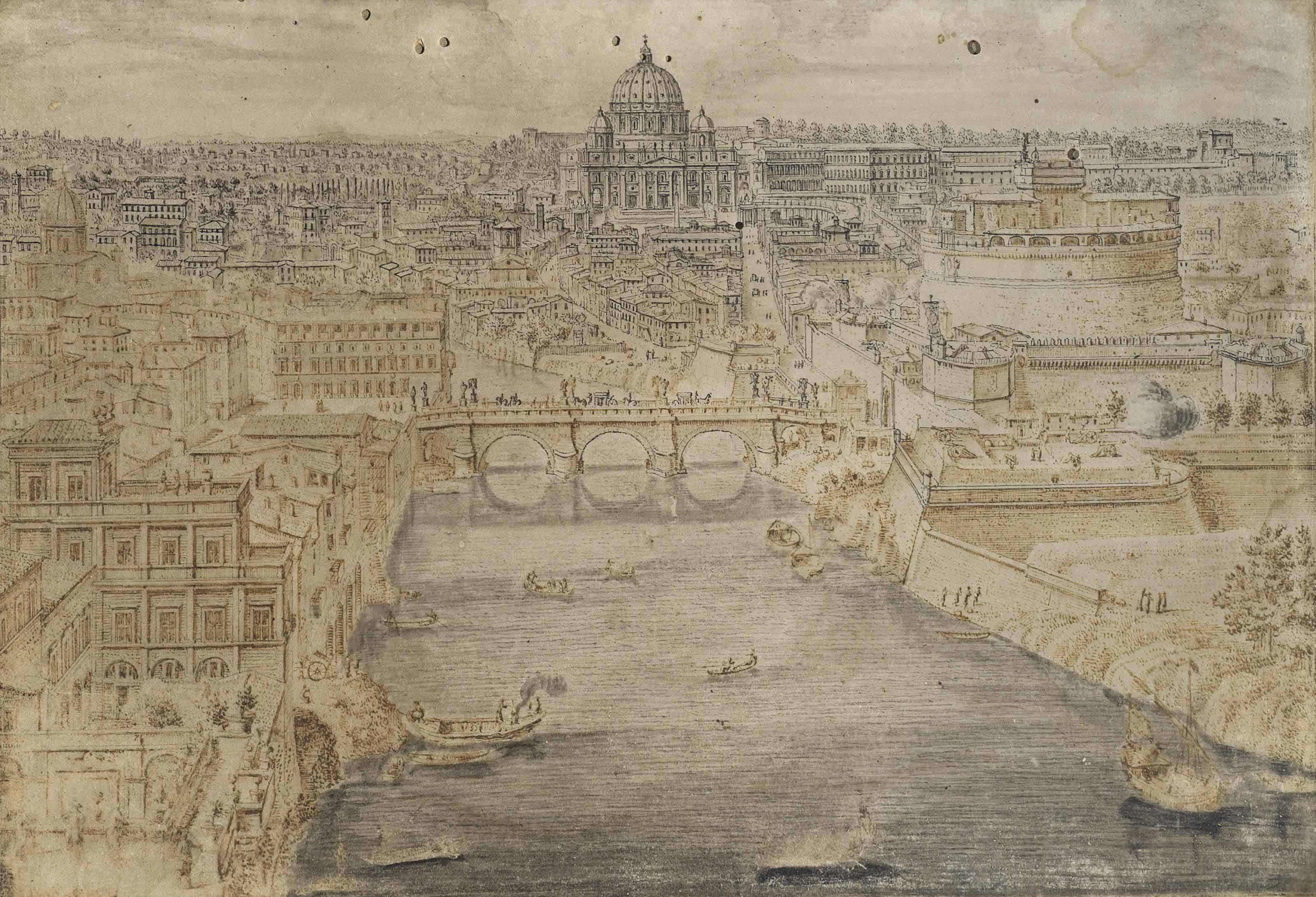 View of Rome with the Ponte Sant' Angelo crossing the Tiber, the Basilica of Saint Peter's in the distance and the Castel Sant' Angelo on the right
