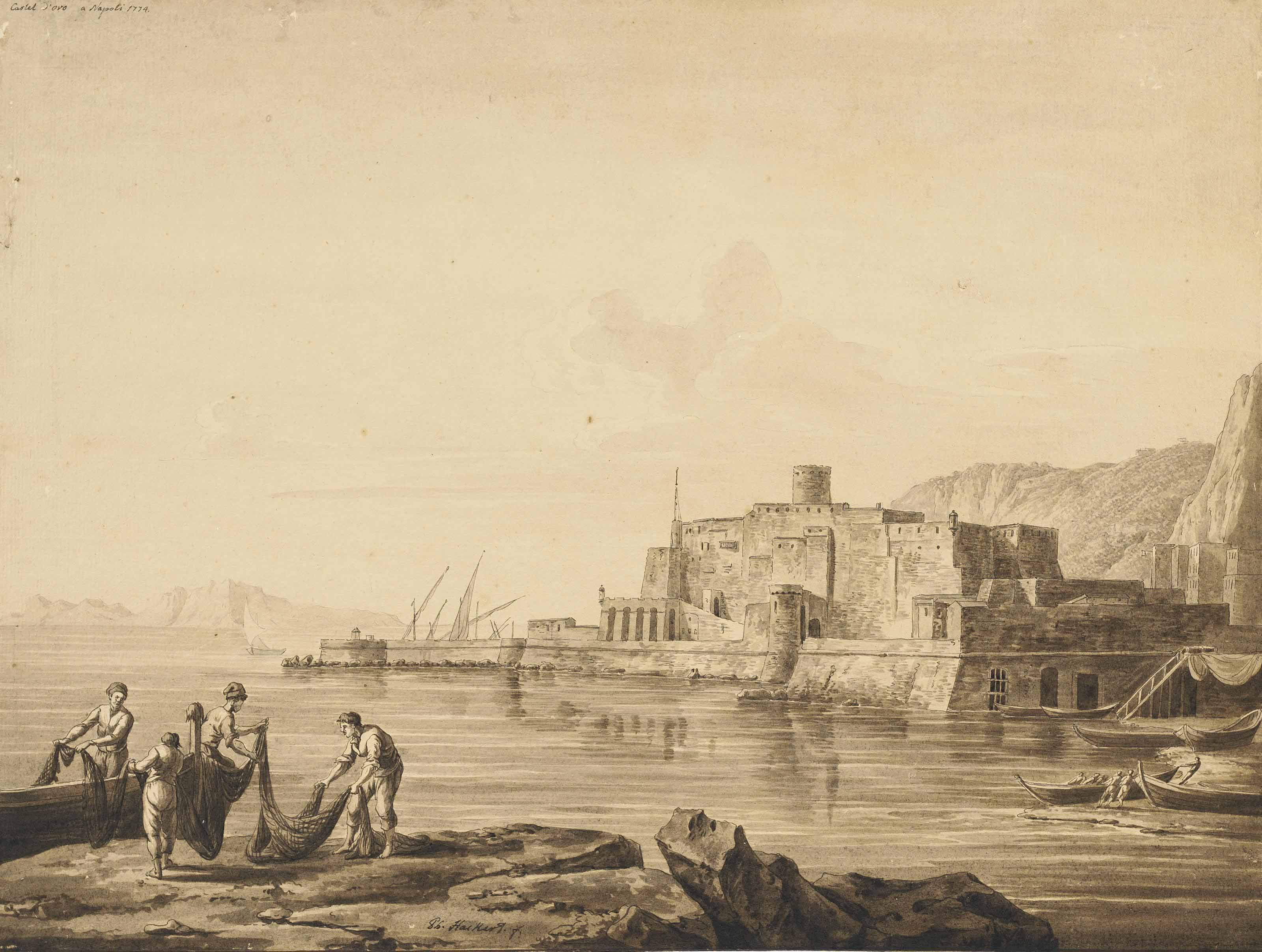 The Castel dell'Ovo, Naples, with fishermen unloading their boats in the foreground