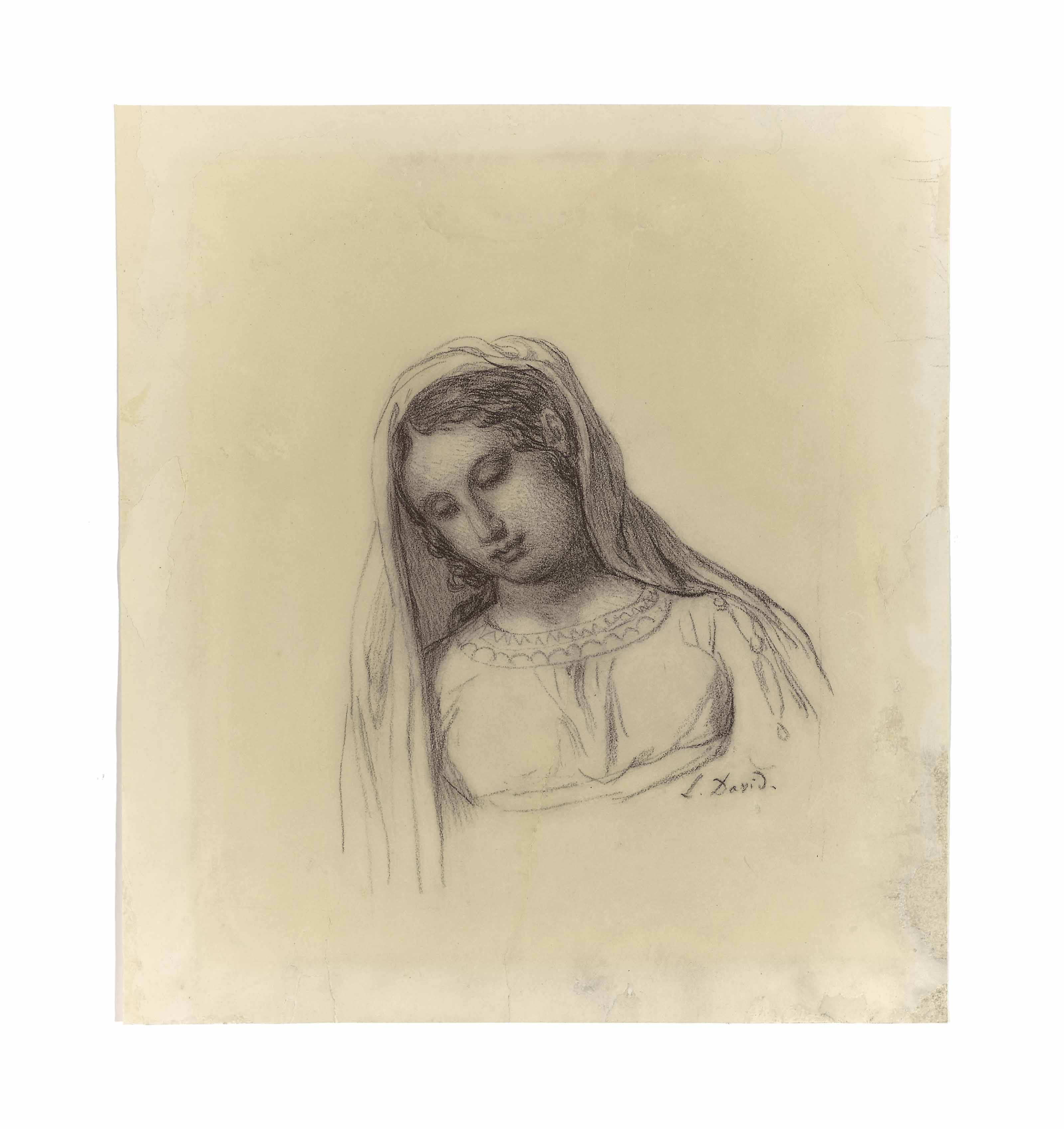 Portrait of a young woman in a veil, bust-length, her head inclined to the left
