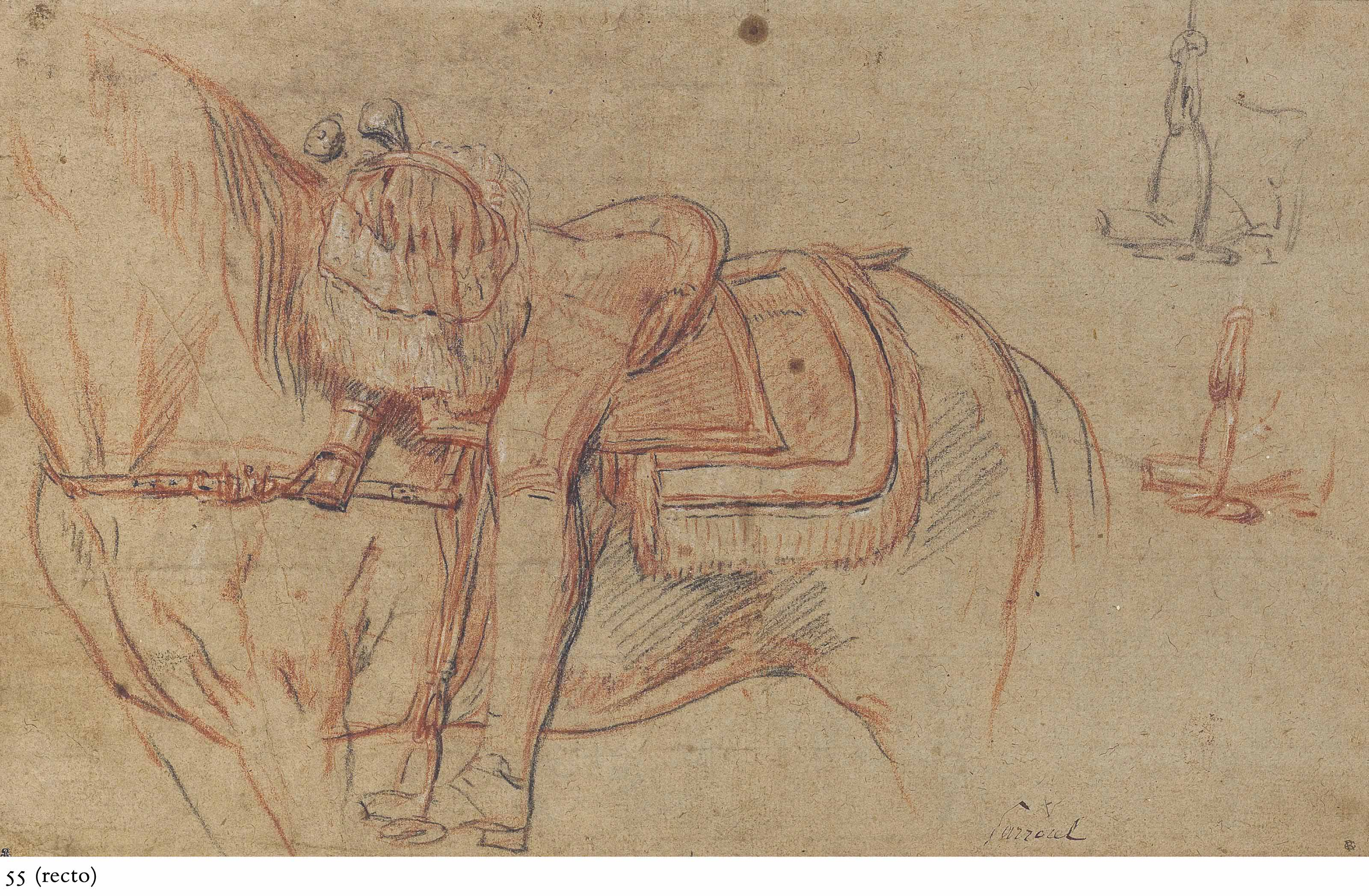 A horse and rider, with two subsidiary studies of the stirrup (recto); Studies of a hand and outstretched arm (verso)