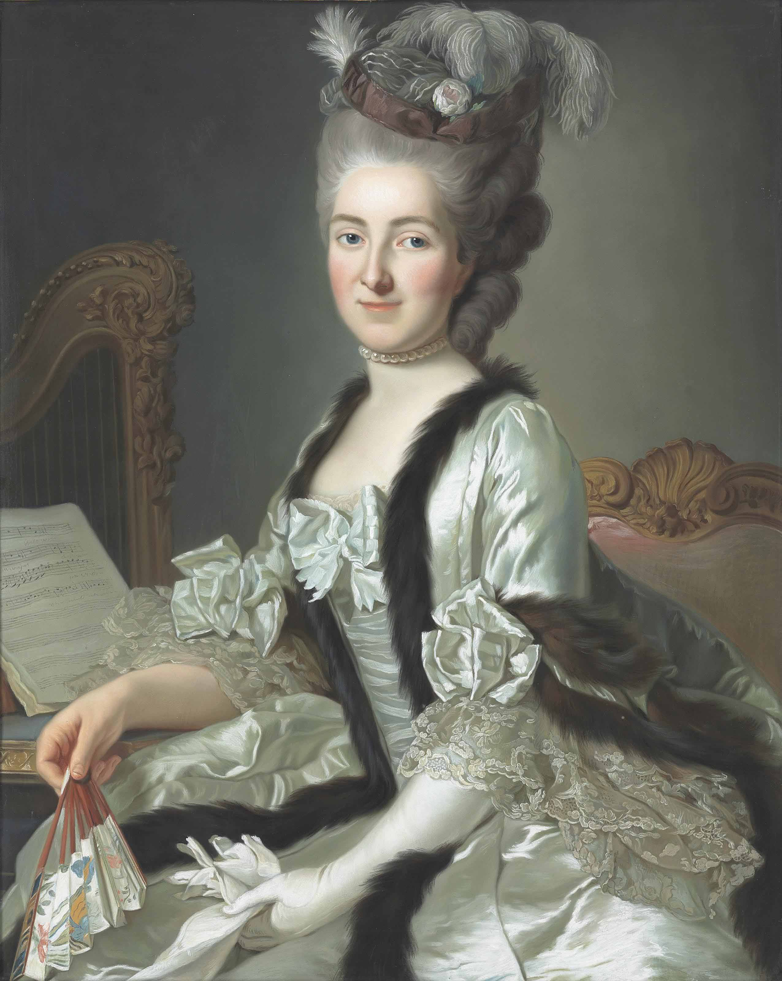 Portrait of the Reichsgräfin von Fries, née Gräfin Anna d'Escherny (1737-1807), seated, half length, in a plumed headdress and white satin fur-trimmed gown