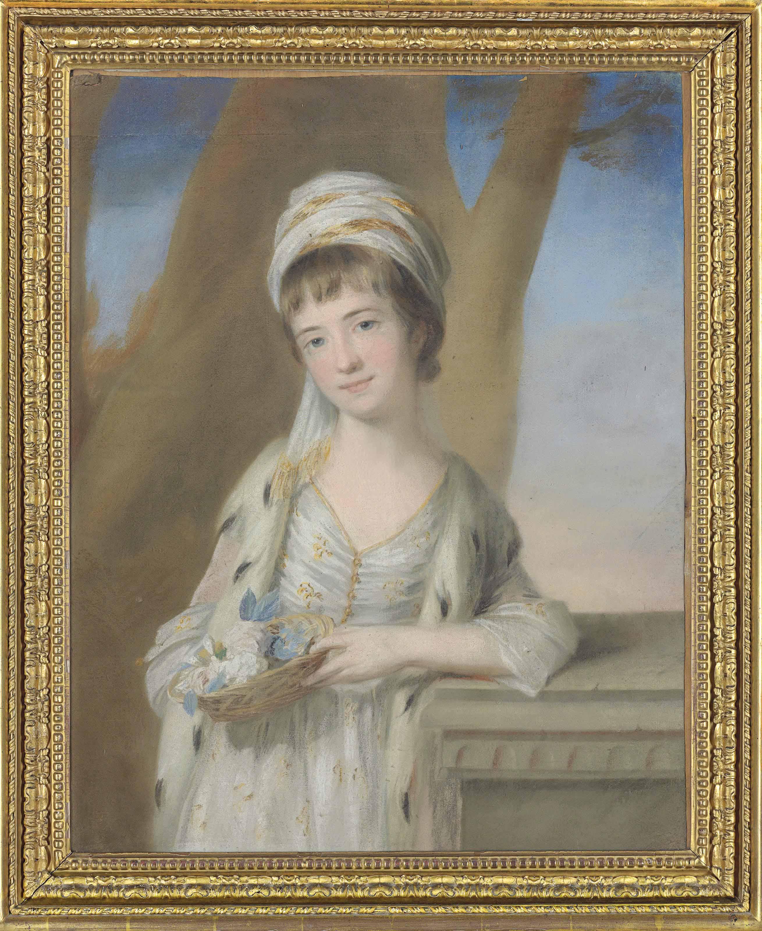 Portrait of Mary Sturt (1759-?), three-quarter-length, standing, holding a basket of flowers