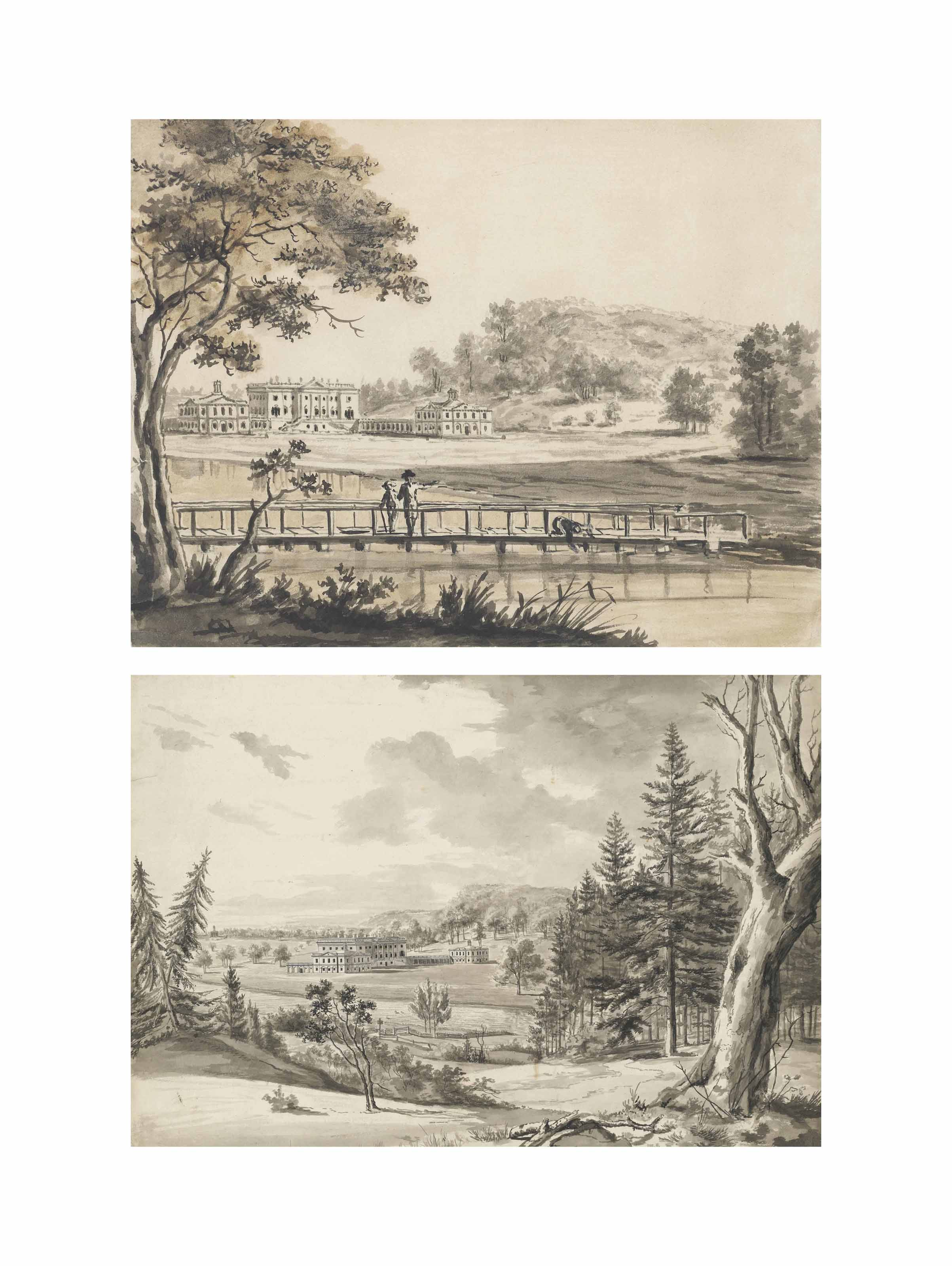Fonthill Splendens including: Views of the Principal Front, from across the Lake near the Boathouse (with a second sheet extending the composition to the left); from the Hill across the Lake, showing the Landscaping and two Pavilions; and from the wooden Bridge; View across the opposite Front, from across the wooden Bridge; View of the opposite Front, from across the Lake; and the Hermitage; two views of the grounds and Hindon; and a sketch of a Gothic Abbey near water