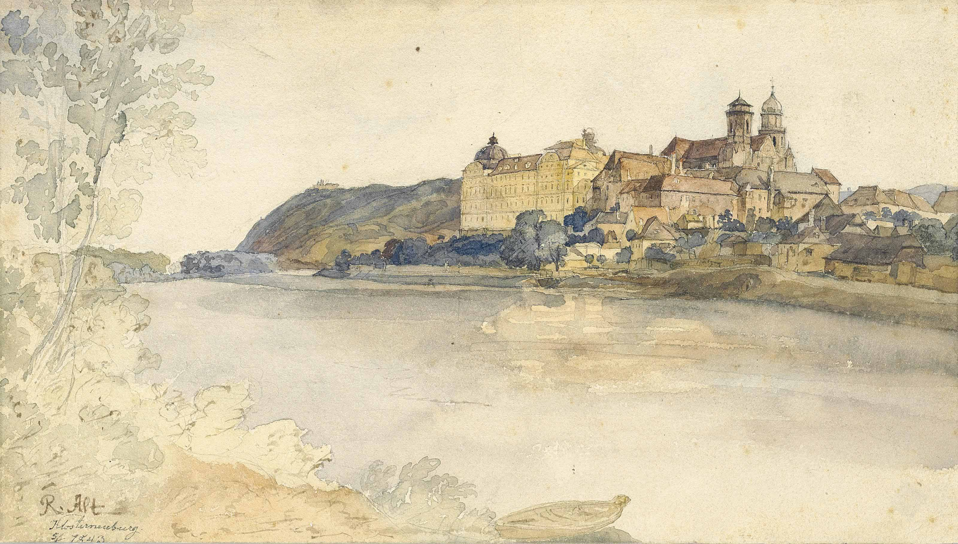 View of Klosterneuberg Monastery, on the Danube, near Vienna
