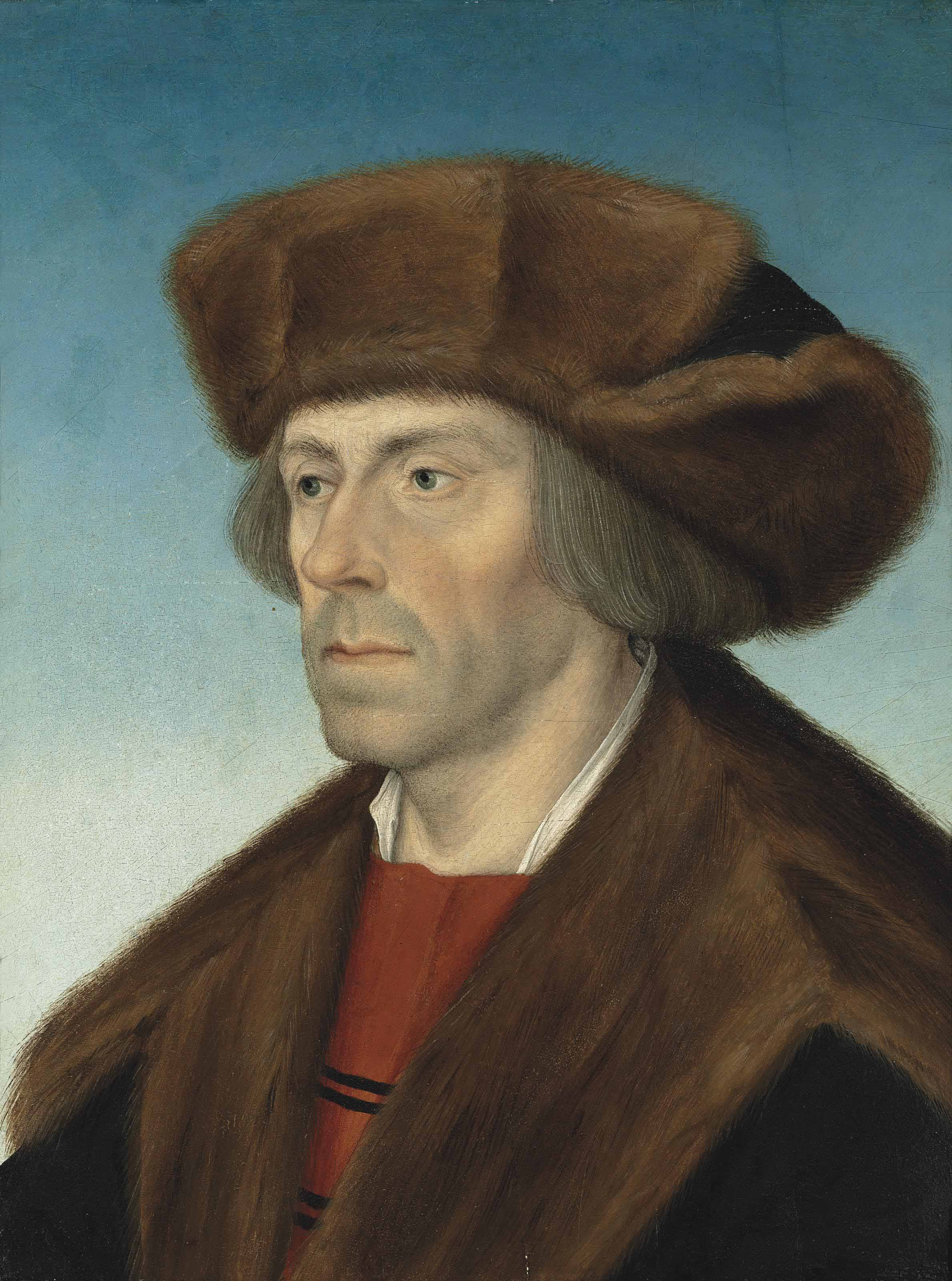 Portrait of a gentleman, bust-length, in a fur hat and a fur-trimmed coat