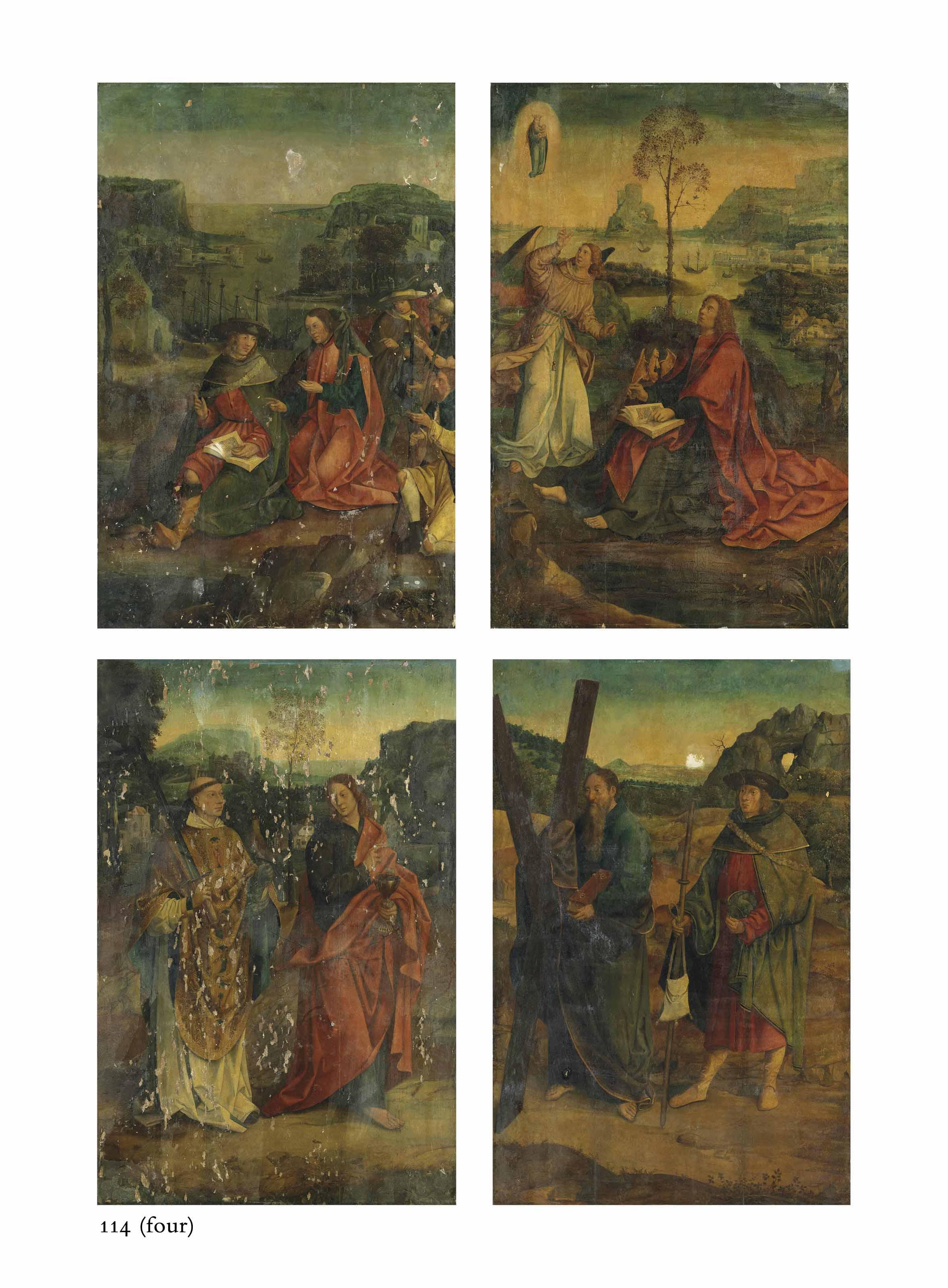Four wings from an altarpiece: Saint James Preaching; Saint John the Evangelist on Patmos; Saints Barvo and John the Evangelist; and Saints Andrew and James