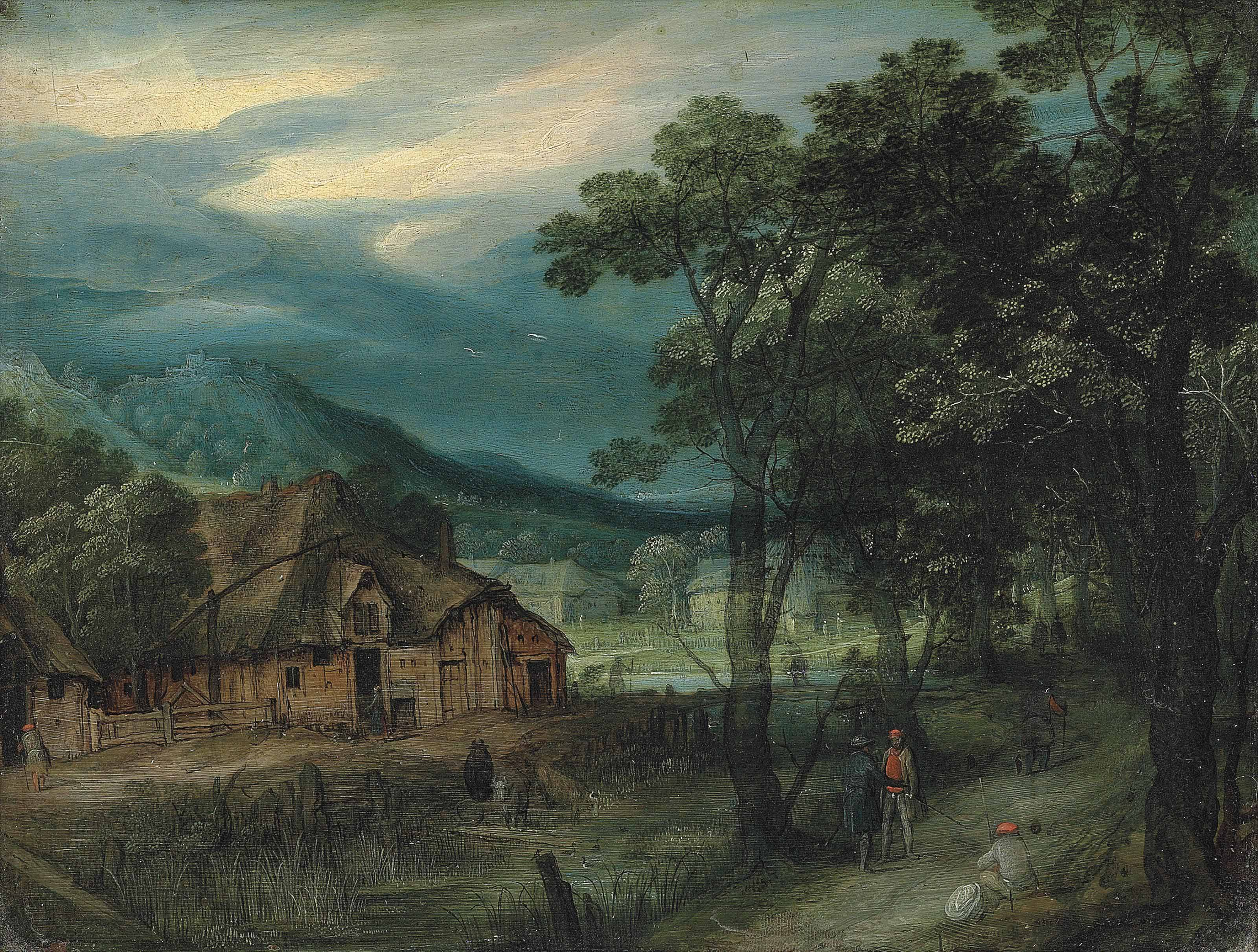 A wooded landscape with travellers on a track by a village