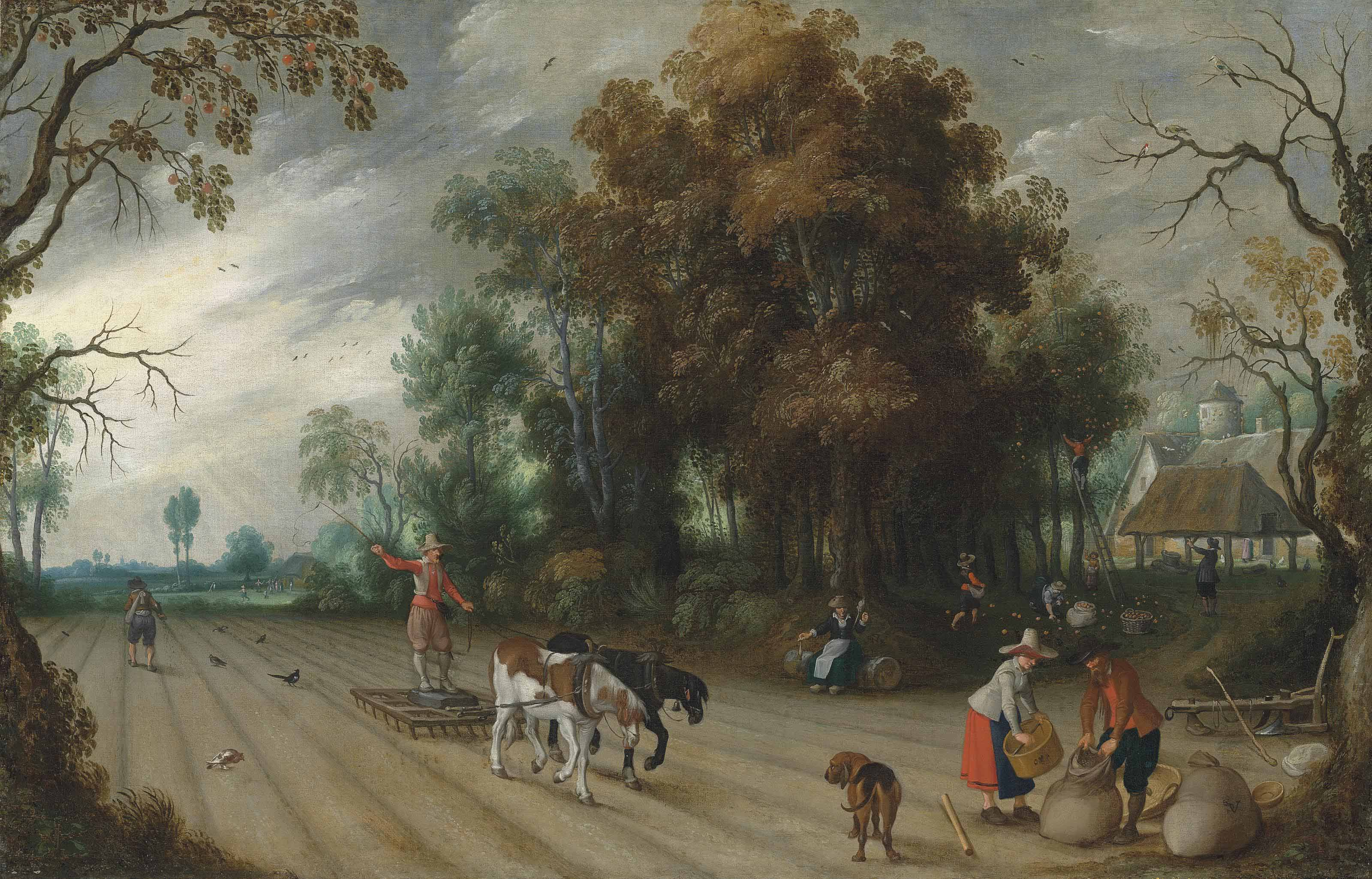 An Allegory of Autumn: A farmer harrowing a field while another sows, with peasants gathering apples in an orchard