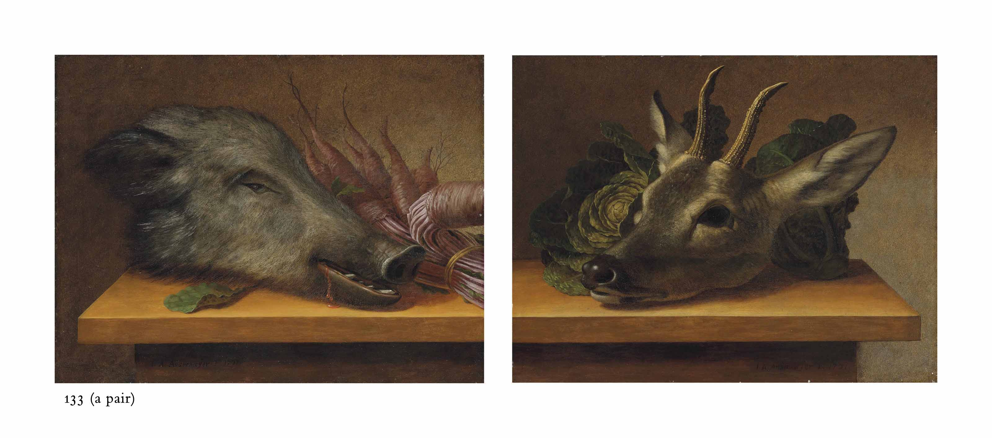 Head of a boar with a bundle of parsnips on a ledge; and Head of a deer with cabbage on a ledge